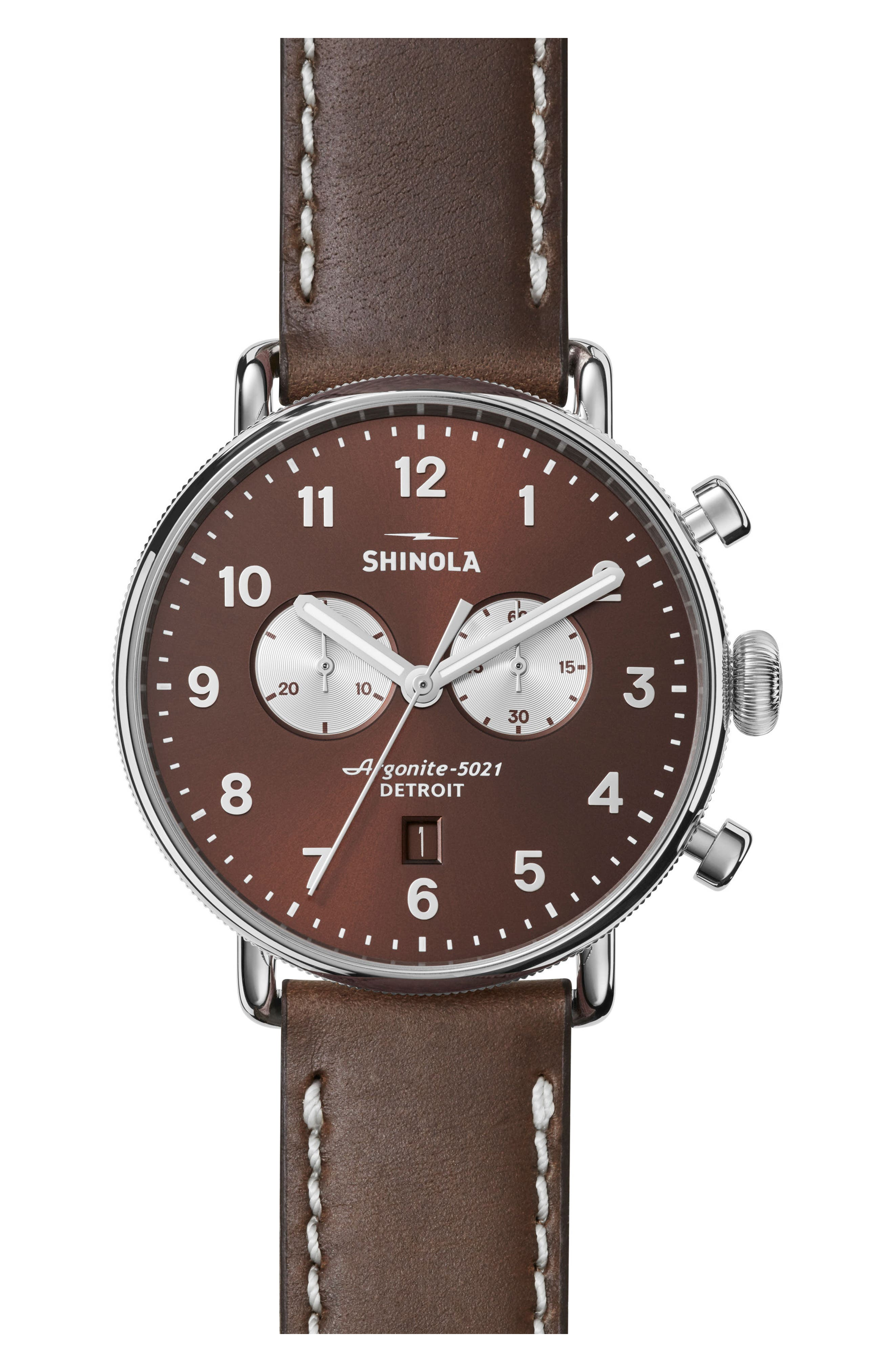 The Canfield Chrono Leather Strap Watch, 43mm,                             Main thumbnail 1, color,                             Bourbon/ Silver