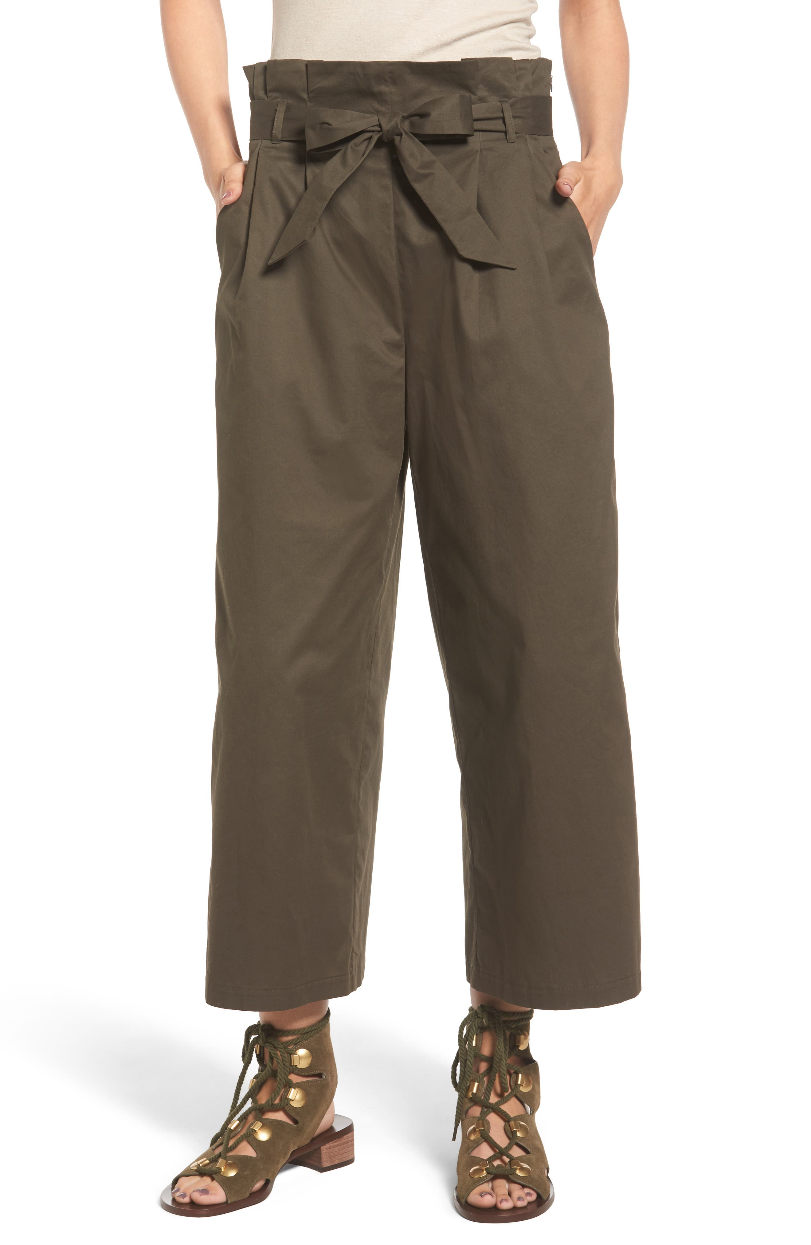 Paperbag Waist Wide Leg Pants,                             Main thumbnail 1, color,                             Brined Olive