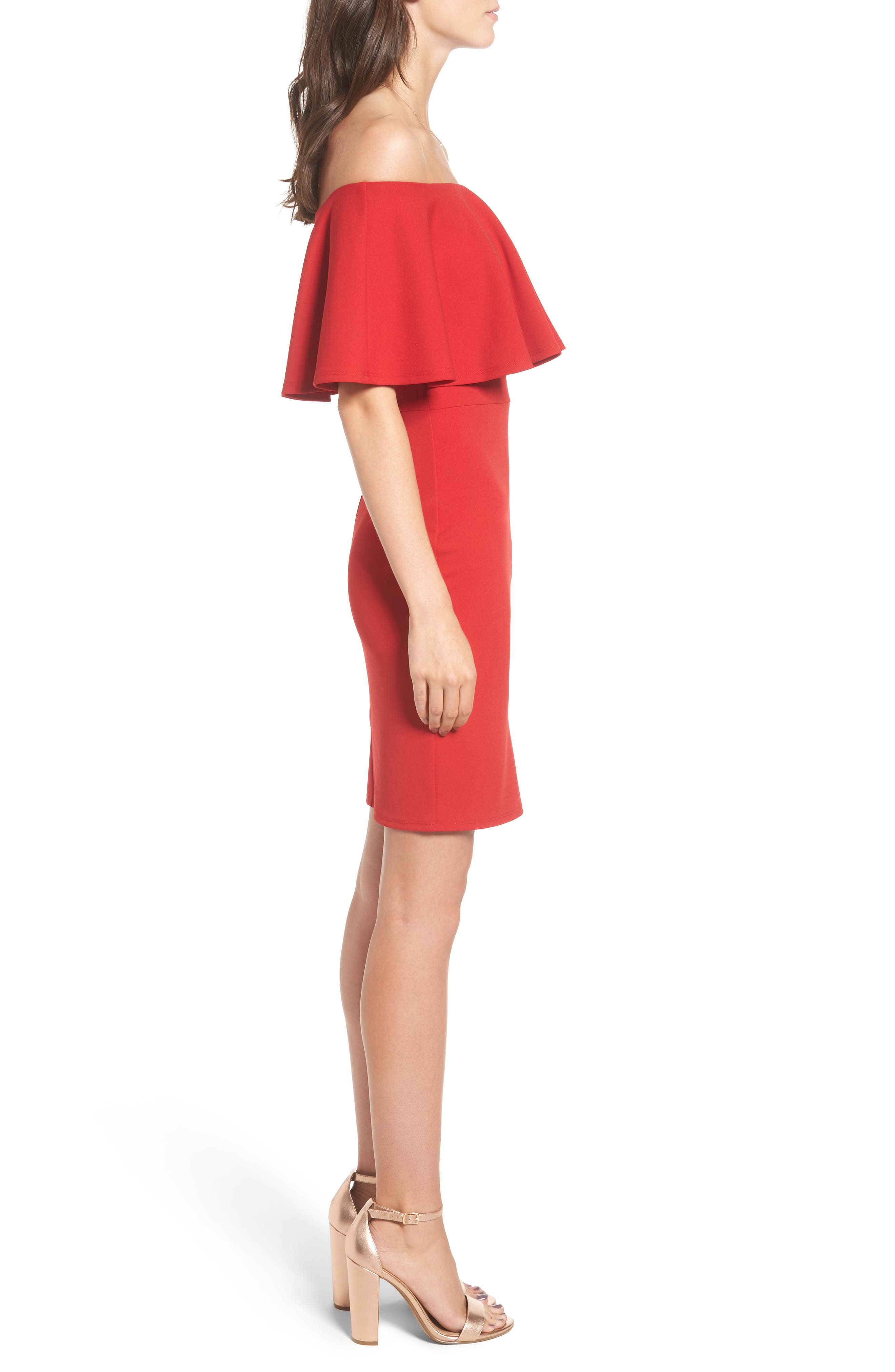 Ruffle Off the Shoulder Body-Con Dress,                             Alternate thumbnail 3, color,                             African Red