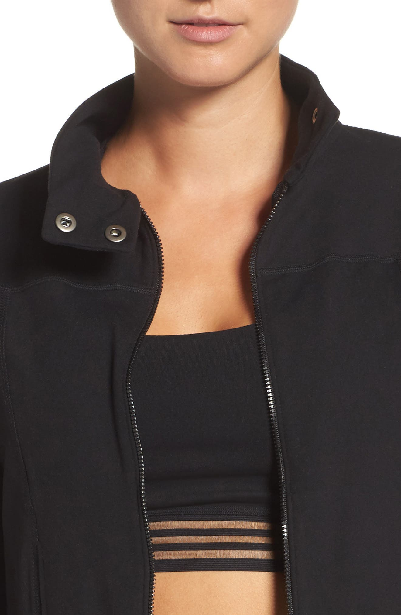 Boxed In Crop Jacket,                             Alternate thumbnail 4, color,                             Jet Black