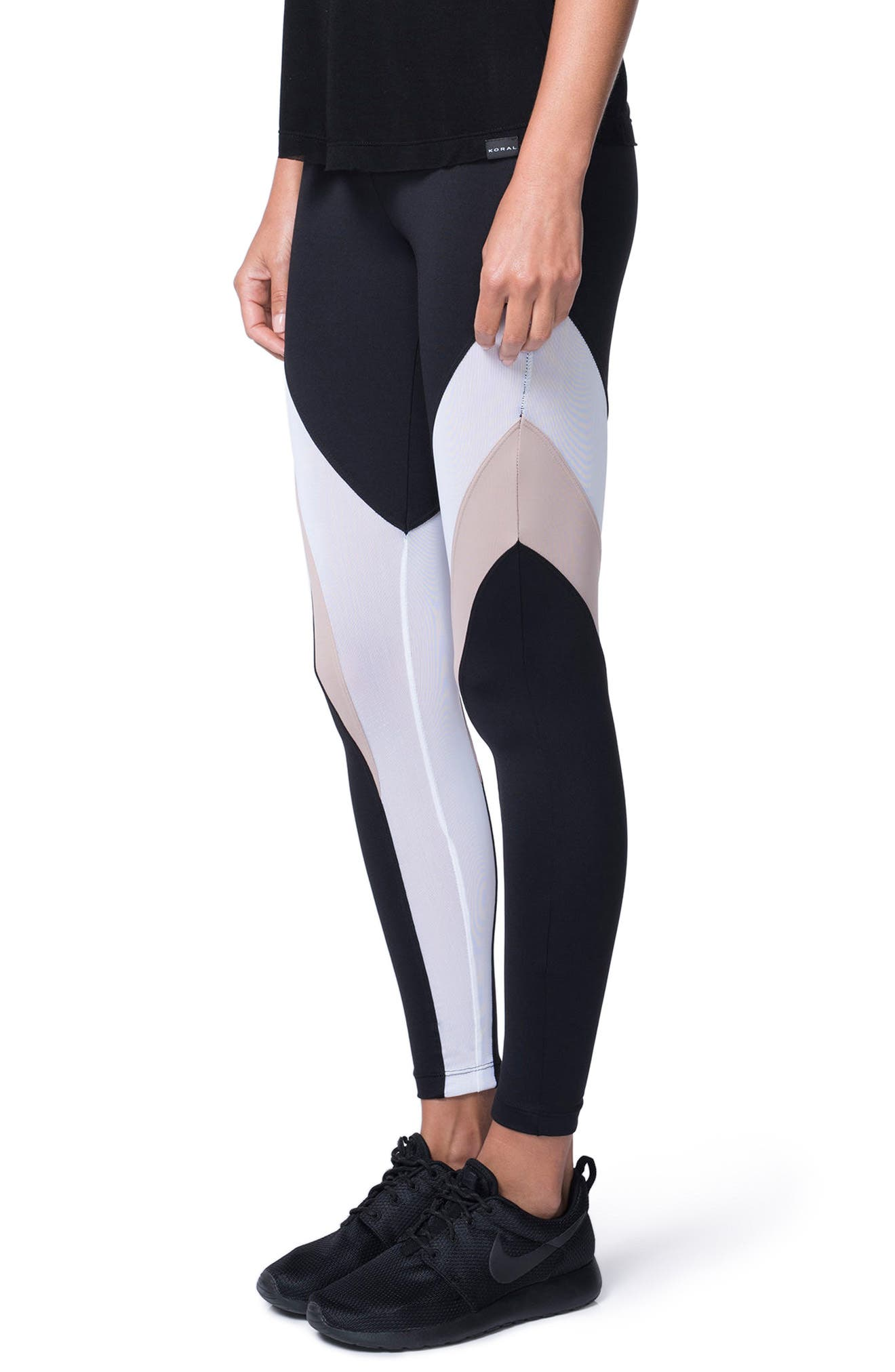 Frame Leggings,                             Alternate thumbnail 3, color,                             Bisque/ Black
