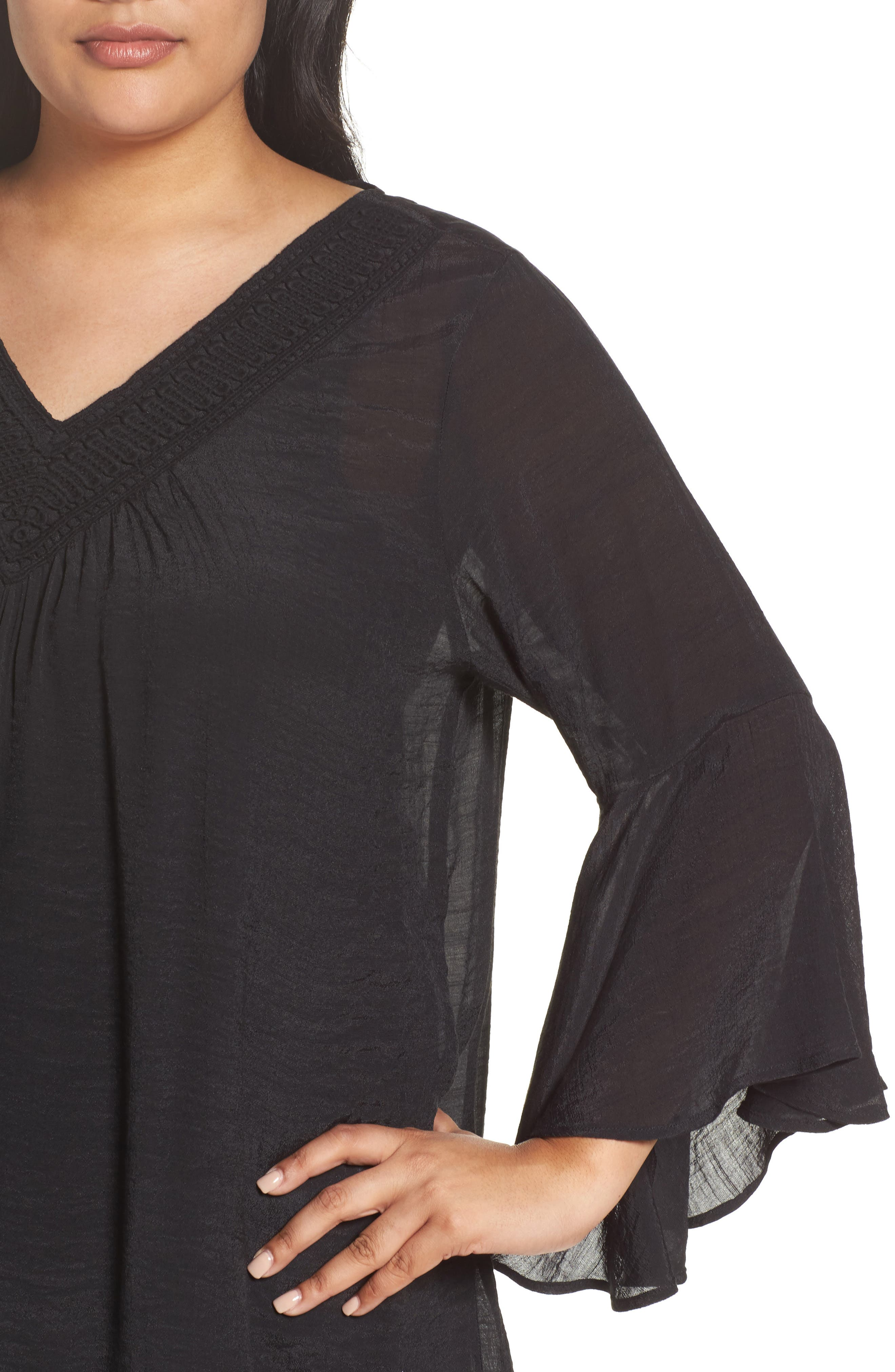 Bell Sleeve Peasant Blouse,                             Alternate thumbnail 4, color,                             Black