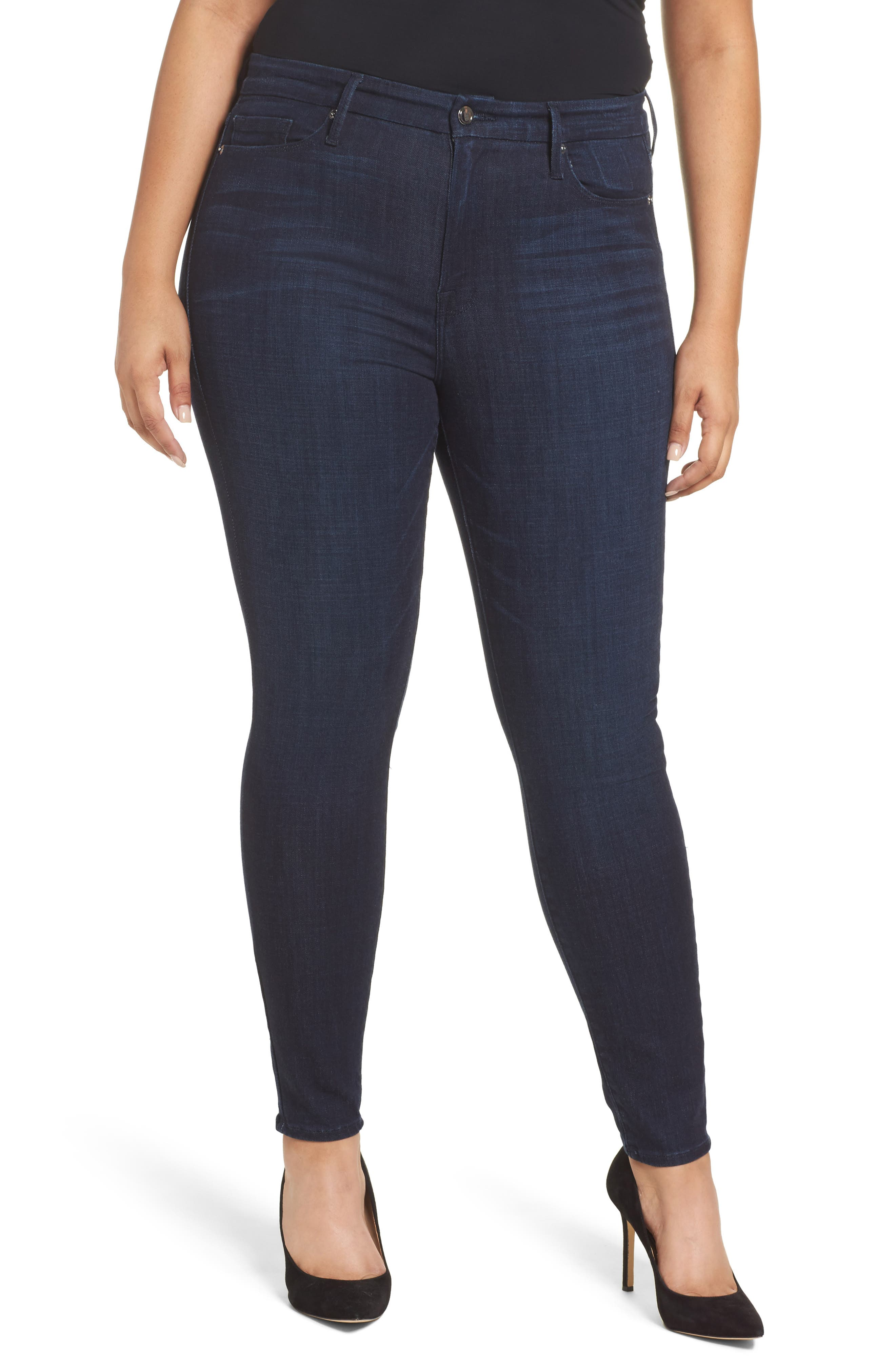 Alternate Image 7  - Good American Good Legs High Waist Ankle Skinny Jeans (Blue 085) (Extended Sizes)