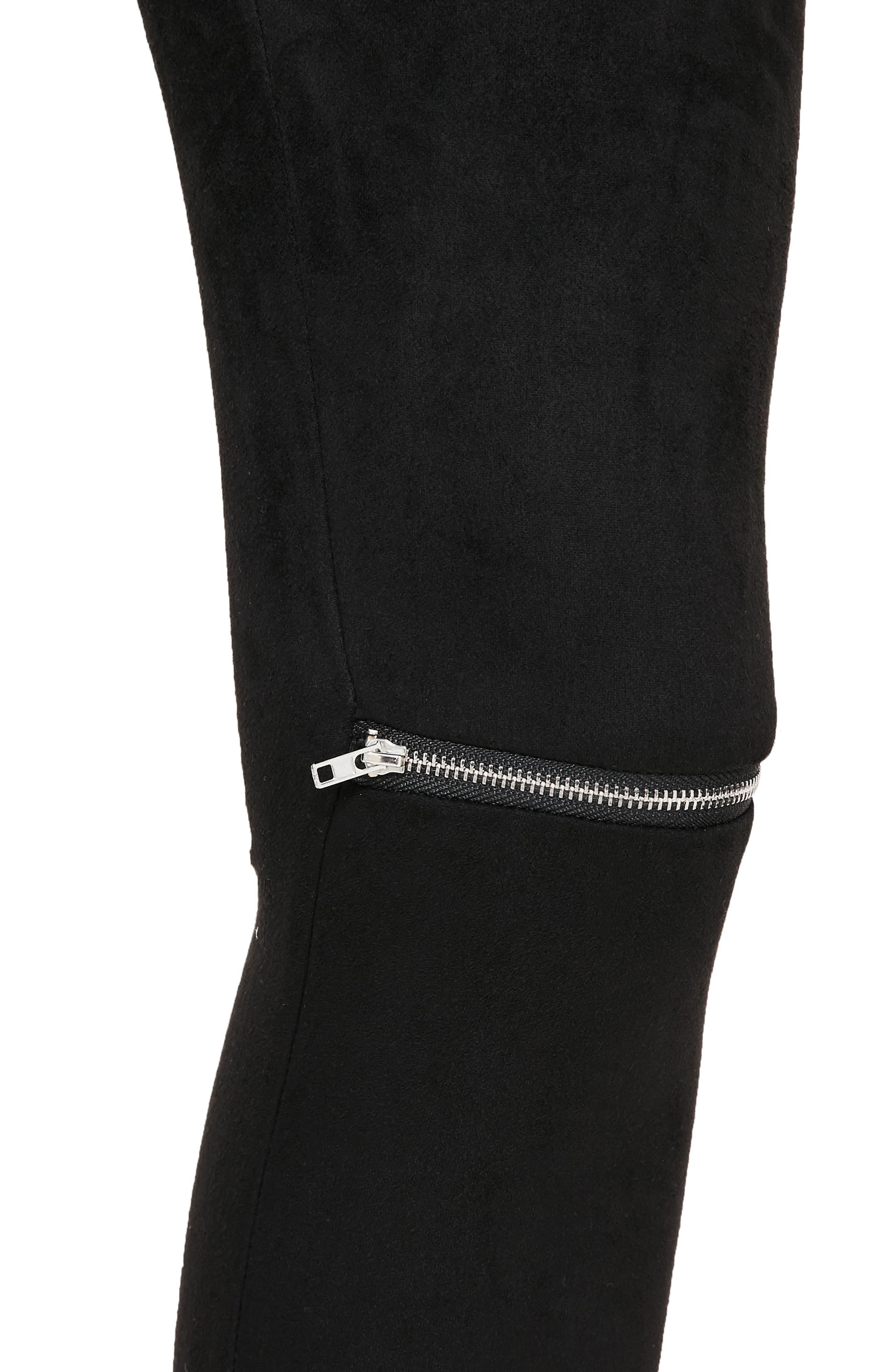 Zip Faux Suede Leggings,                             Alternate thumbnail 4, color,                             Black