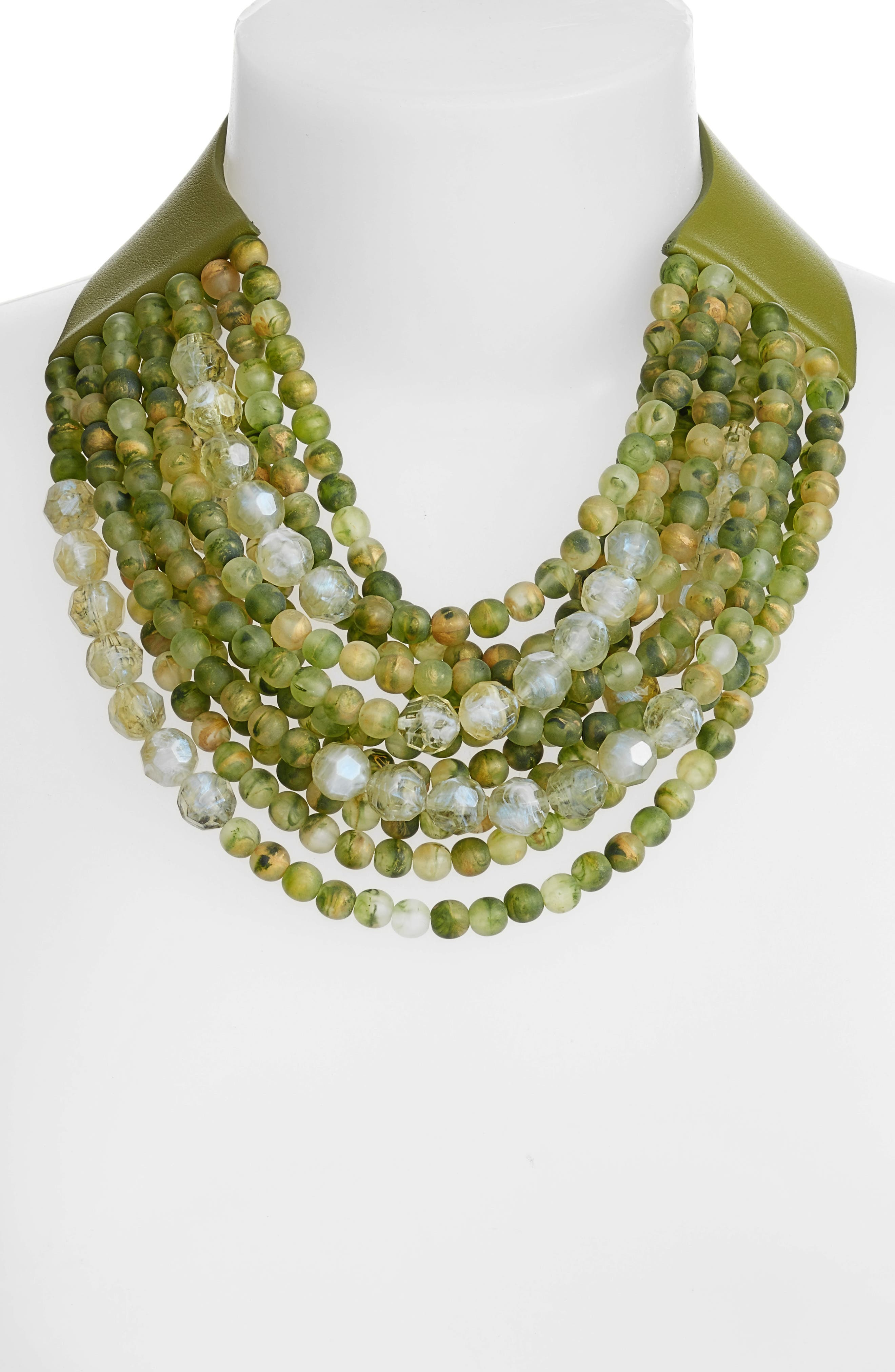 Farichild Baldwin Marcella Beaded Collar Necklace,                             Alternate thumbnail 2, color,                             Green Apple