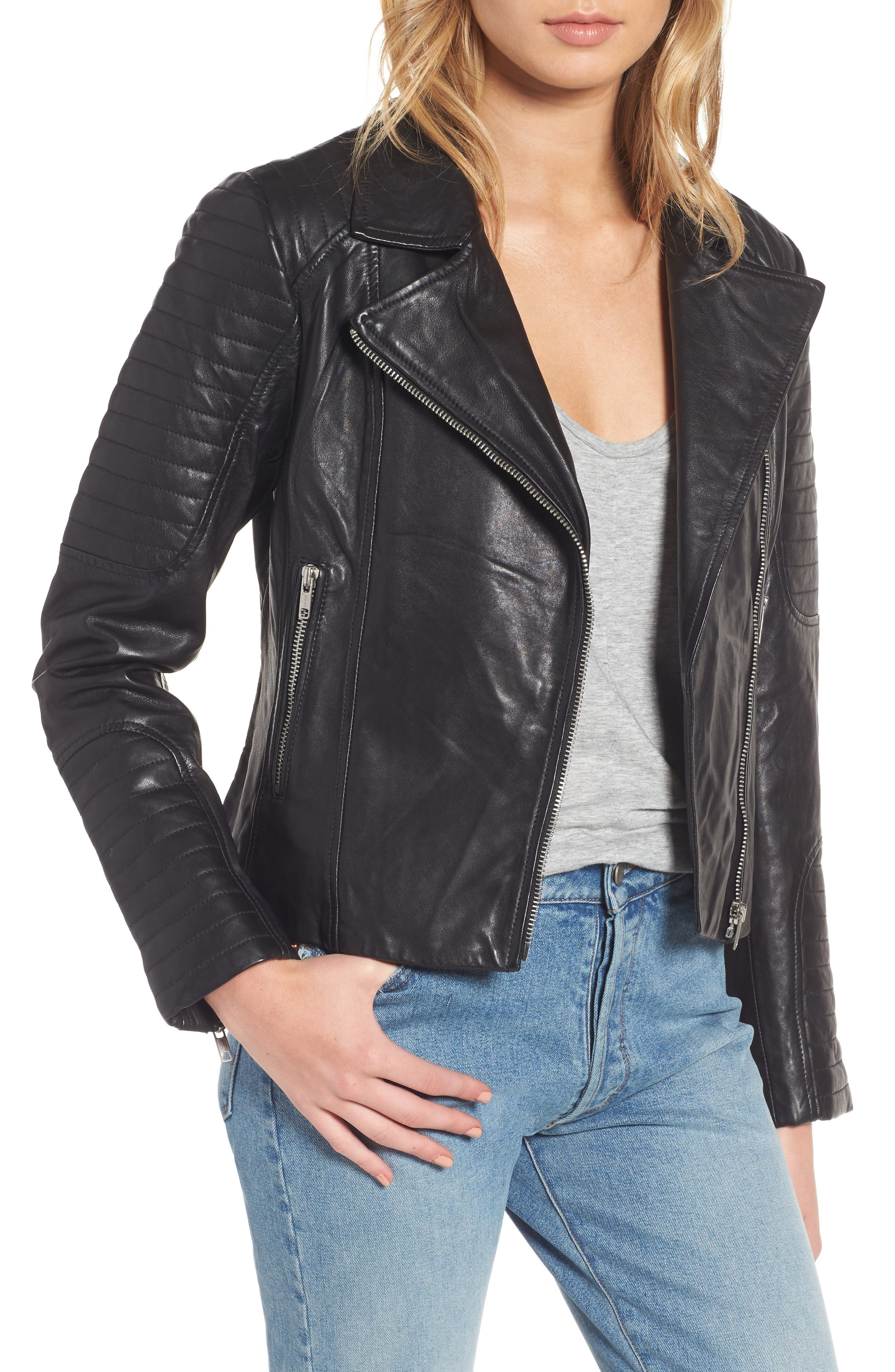 BB DAKOTA Dominic Leather Moto Jacket