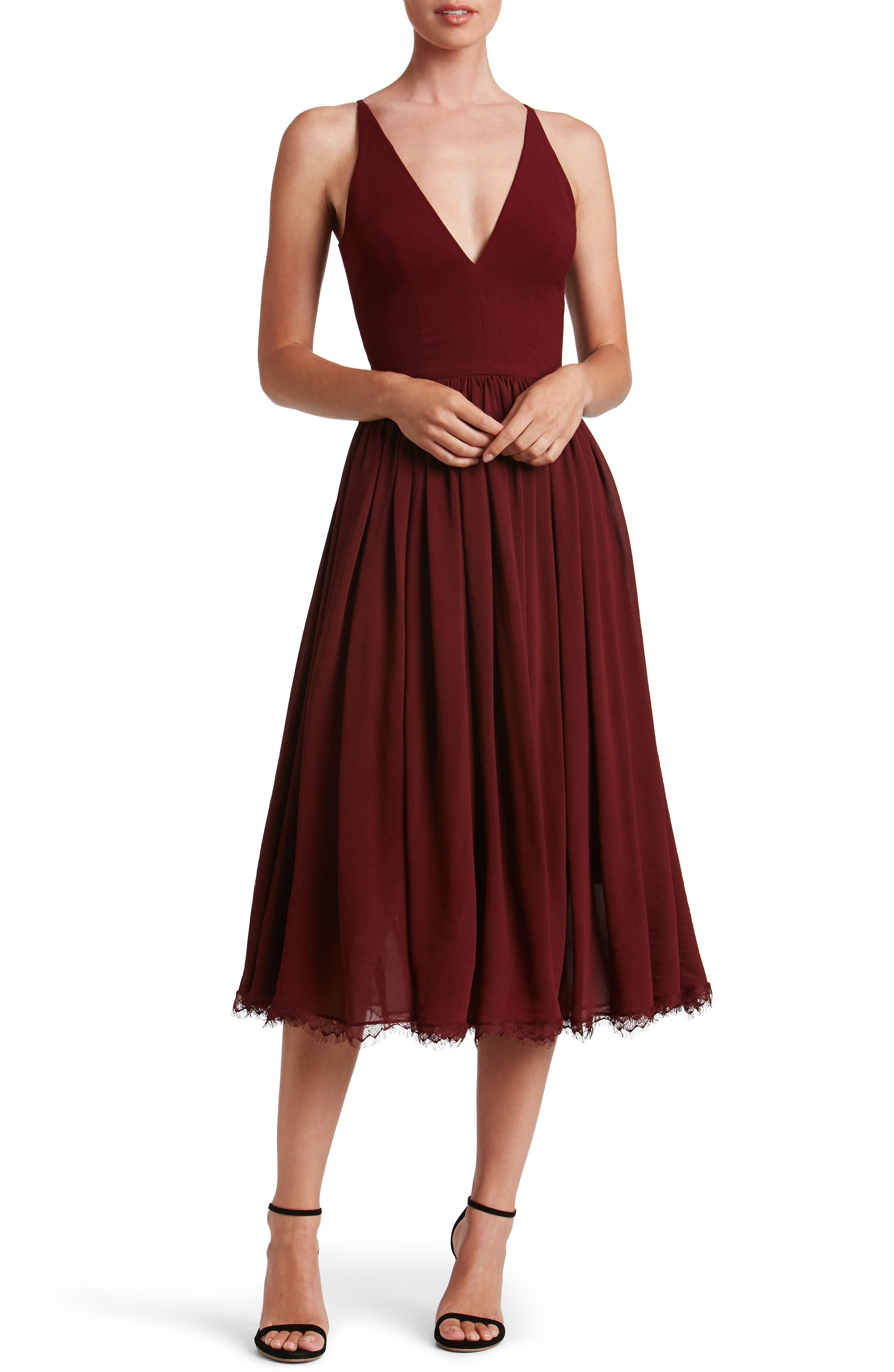Dress the Population Alicia Mixed Media Midi Dress