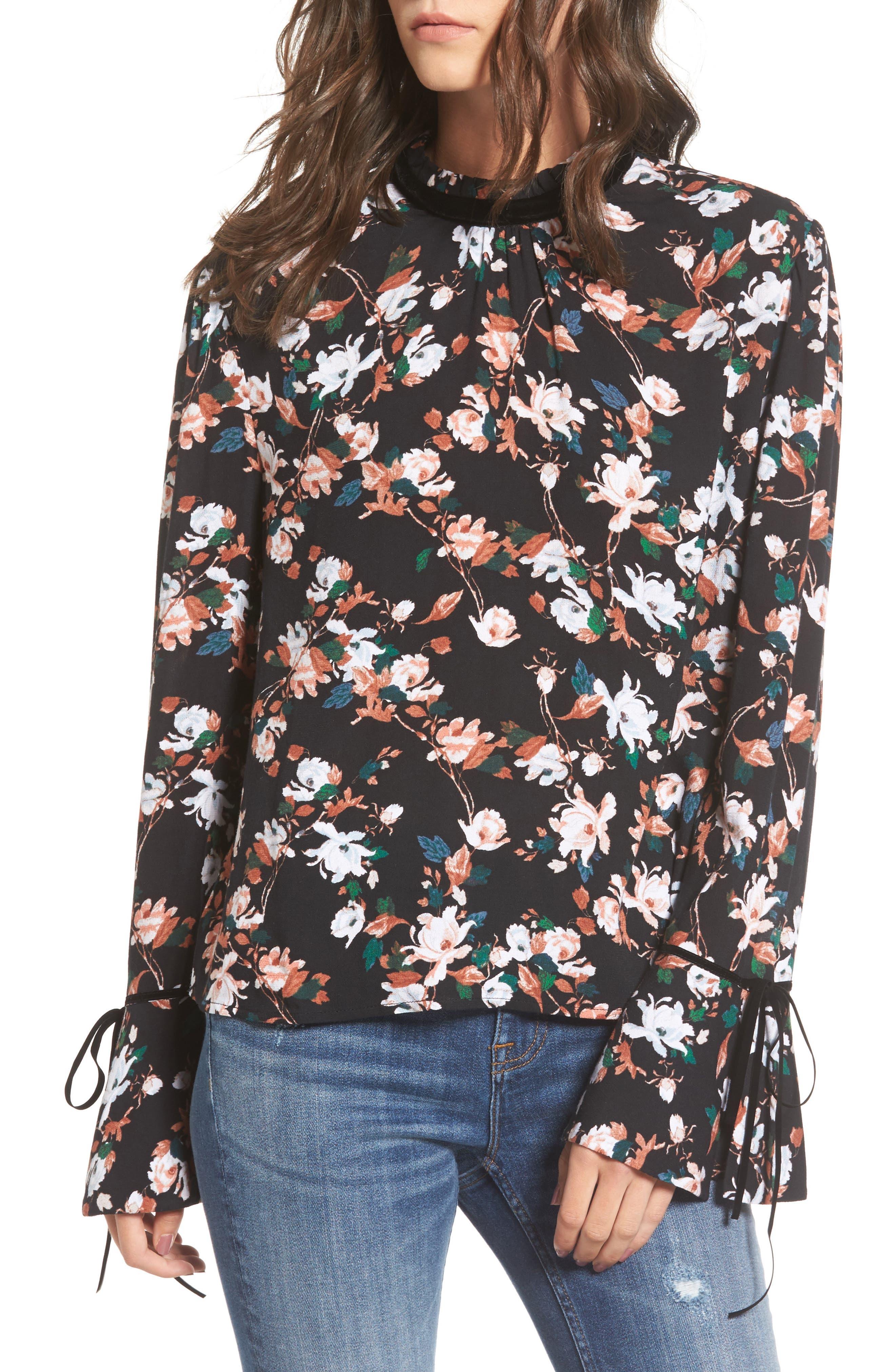 Floral Print Tie Sleeve Top,                         Main,                         color, Black Brit Floral
