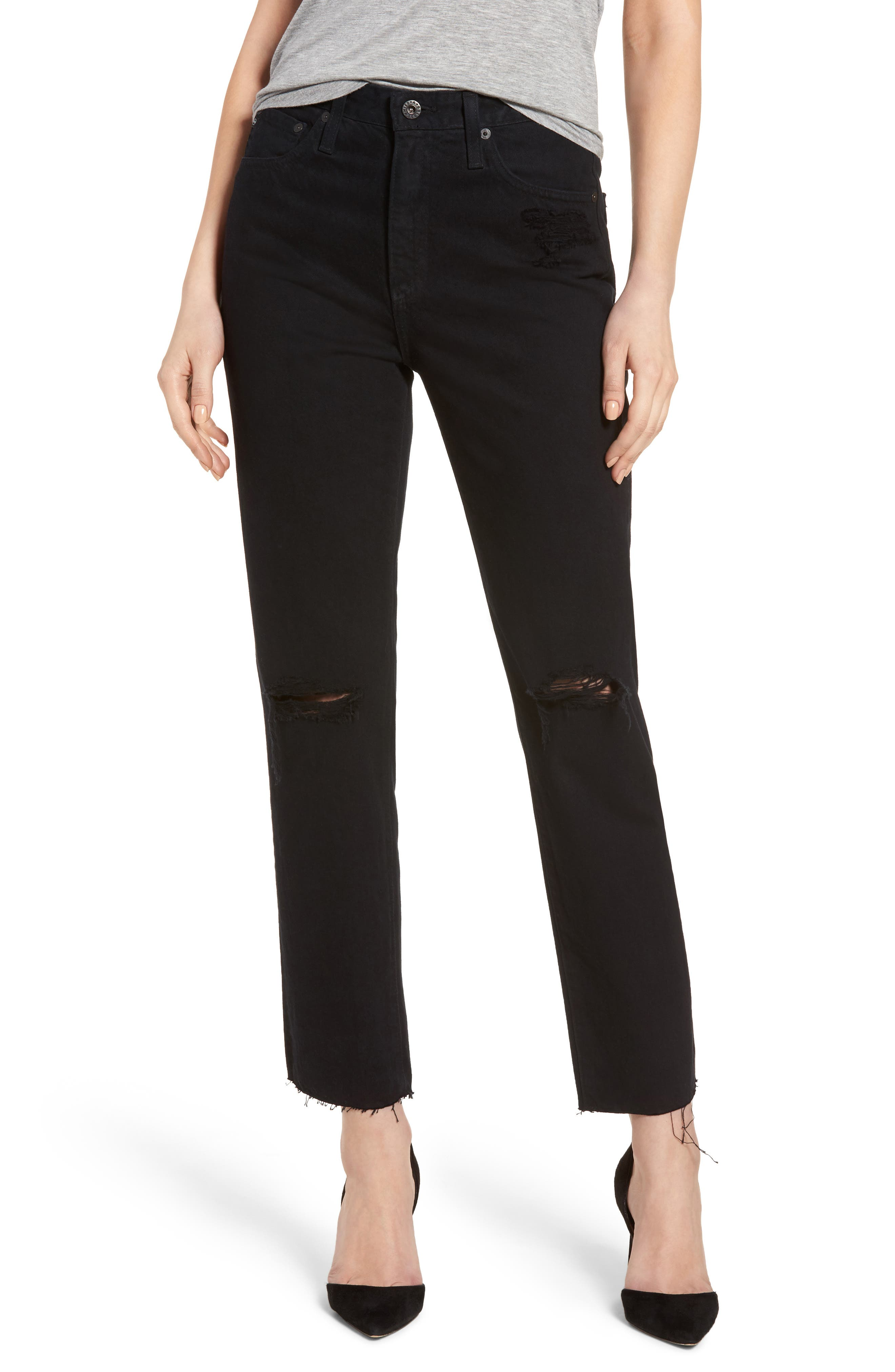 Phoebe High Rise Straight Leg Jeans,                         Main,                         color, Rebellion