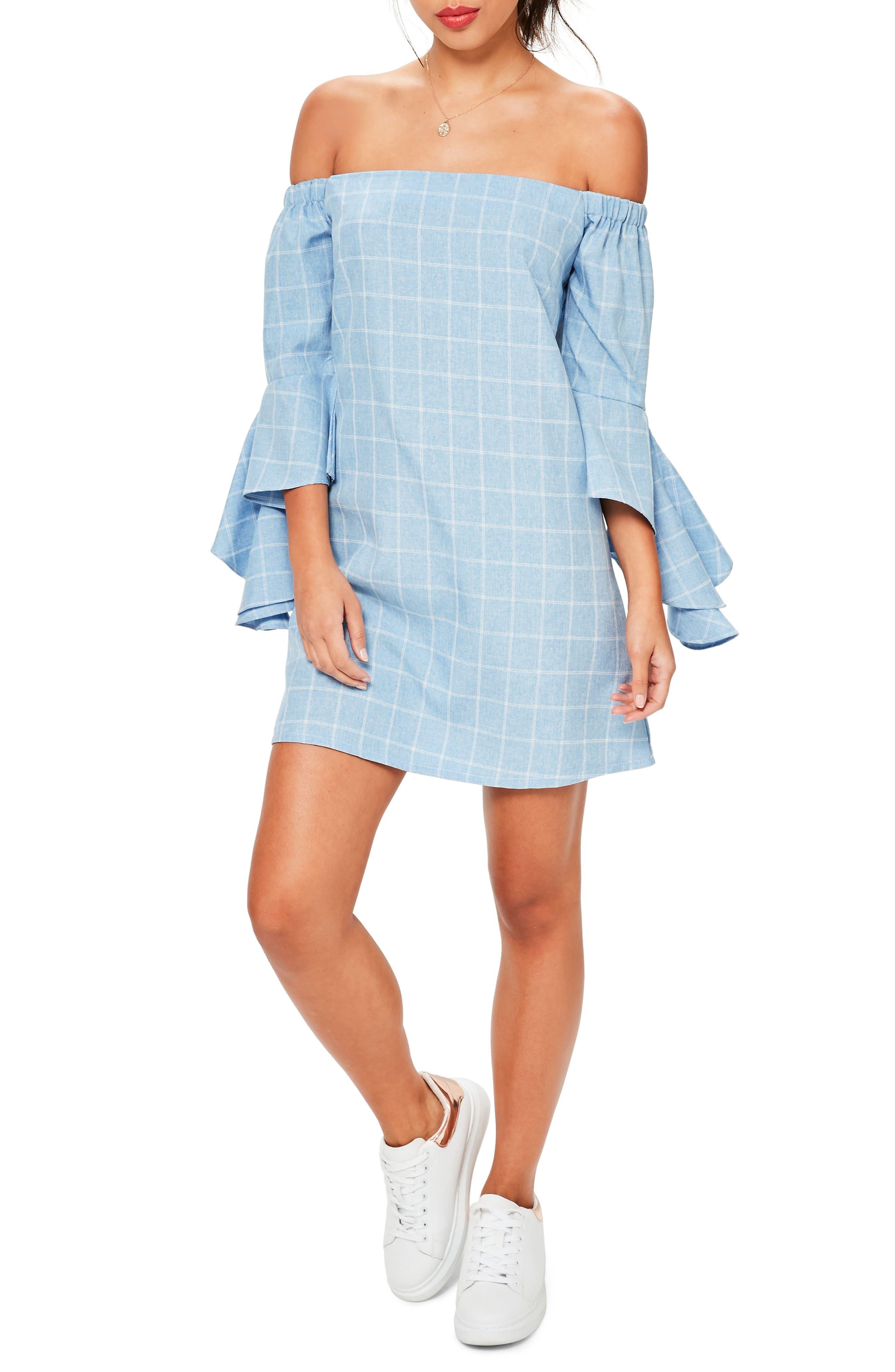 Bardot Ruffle Sleeve Off the Shoulder Shift Dress,                         Main,                         color, Blue
