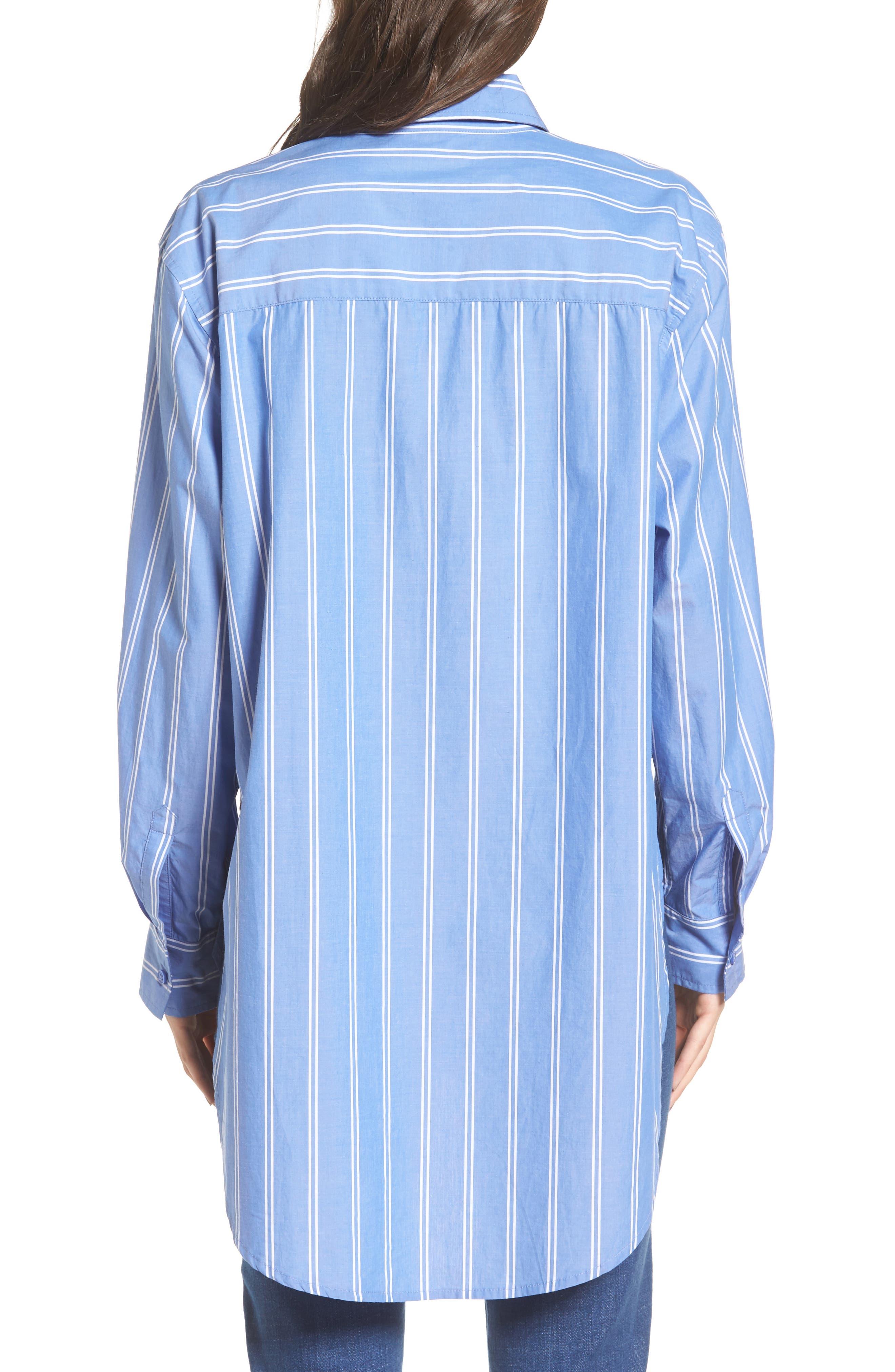 Stripe Step Hem Shirt,                             Alternate thumbnail 5, color,                             Blue Regatta May Stripe