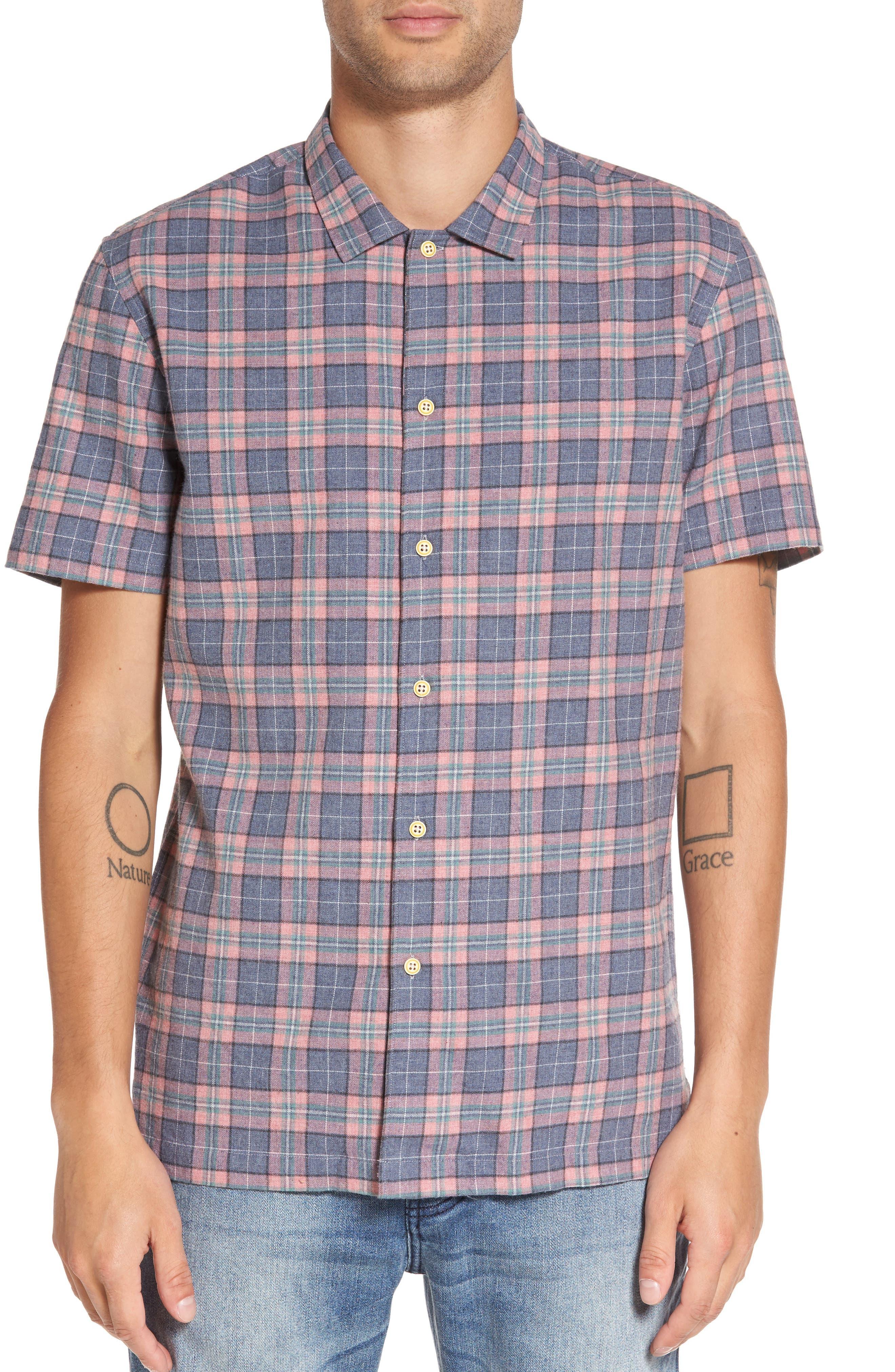 Florida Short Sleeve Plaid Shirt,                         Main,                         color, Pink/ Blue Plaid