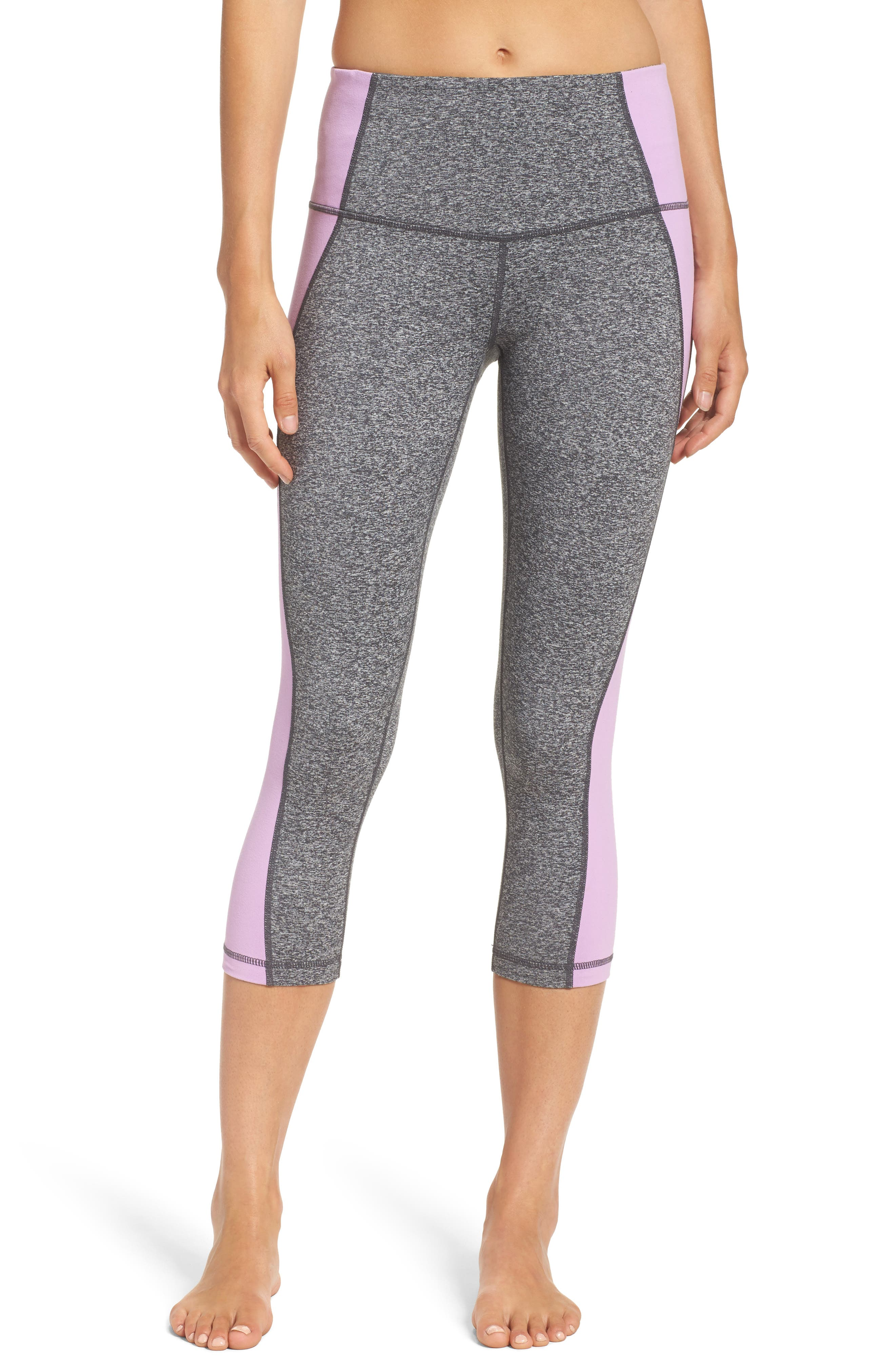 Sporty Splice High Waist Crop Leggings,                         Main,                         color, Grey Graphite Melange