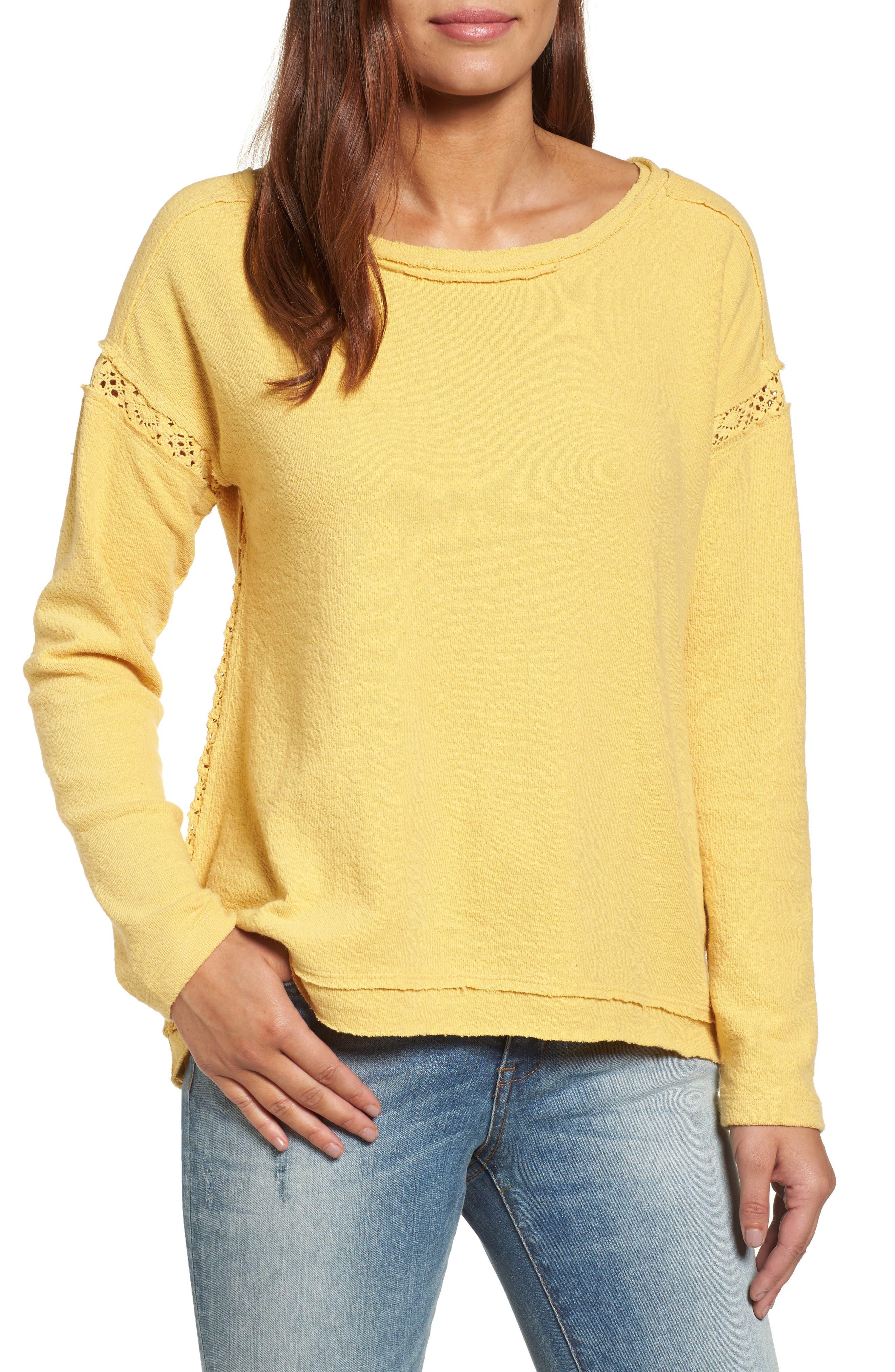 Main Image - Caslon® Crochet Lace Trim Sweatshirt