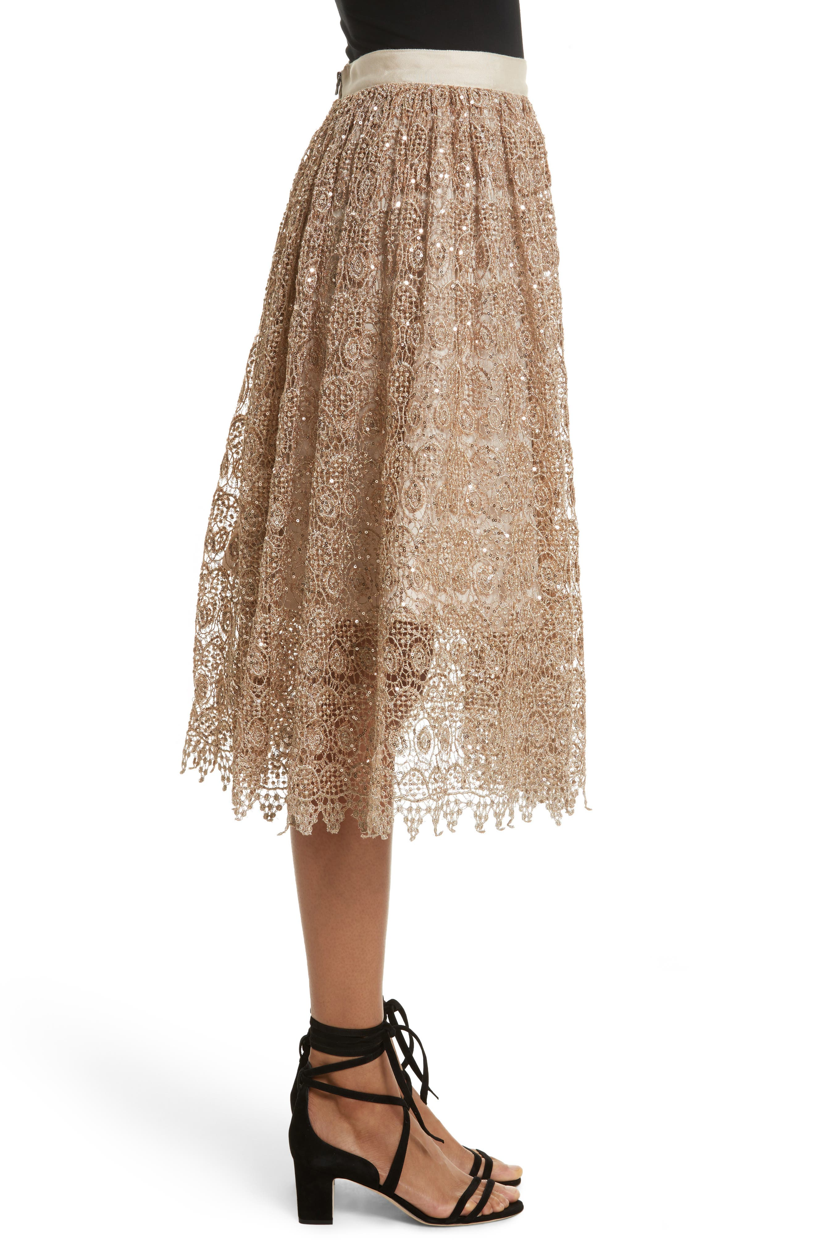 Metallic Lace Skirt,                             Alternate thumbnail 5, color,                             Gold