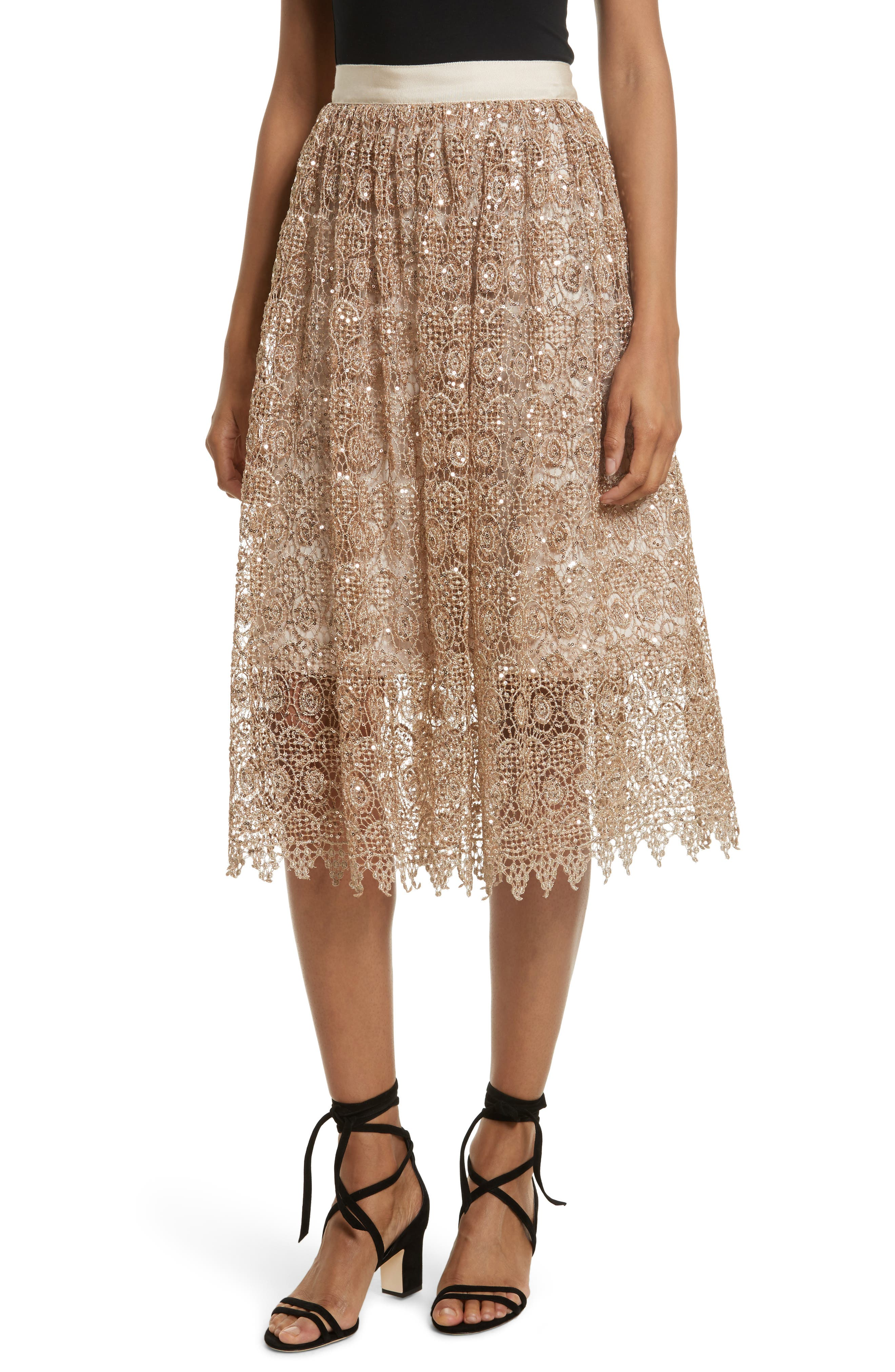 Metallic Lace Skirt,                         Main,                         color, Gold