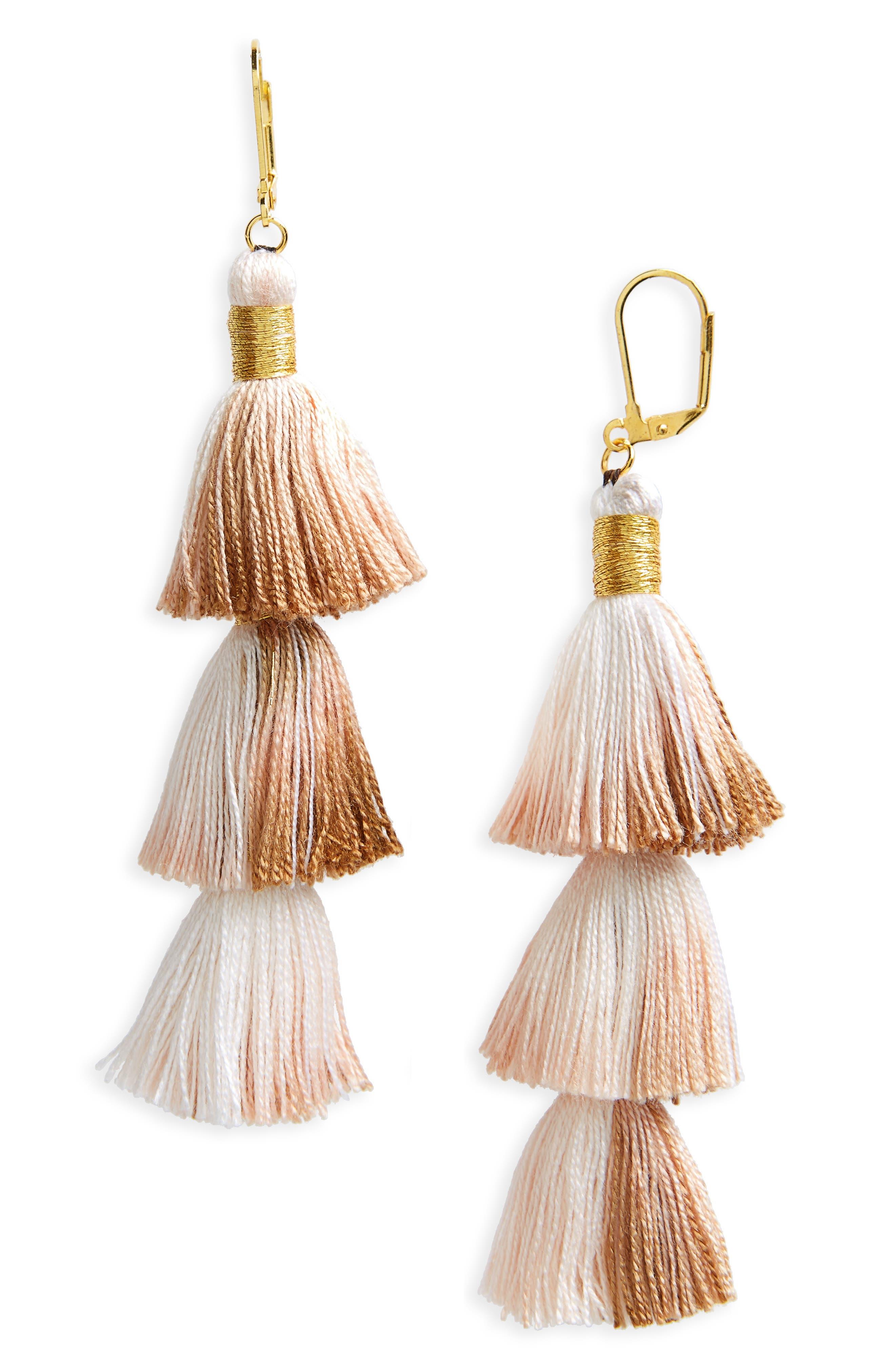 Tassel Drop Earrings,                         Main,                         color, Tan