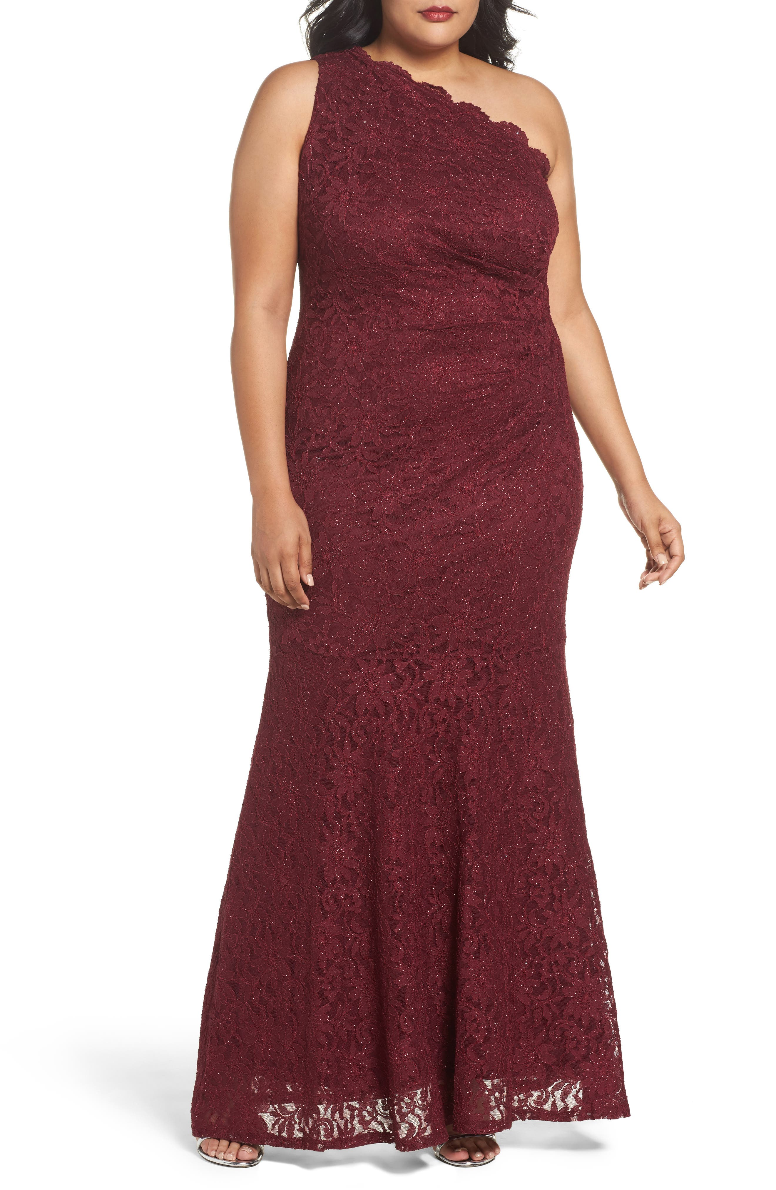 One Shoulder Glitter Lace Gown,                         Main,                         color, Merlot