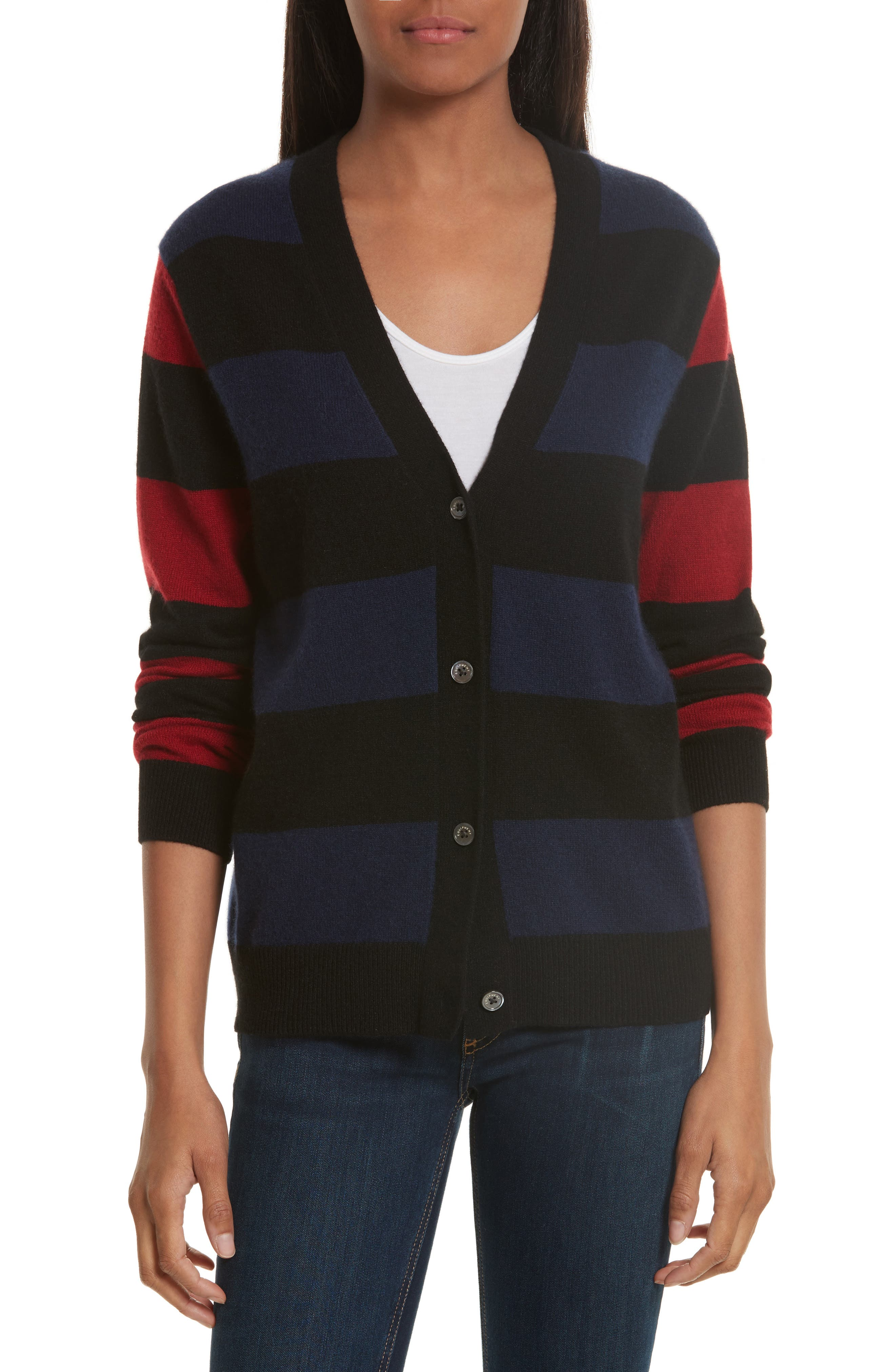 Shelly Stripe Cashmere Cardigan,                         Main,                         color, Peacoat/ Rhubarb/ Black