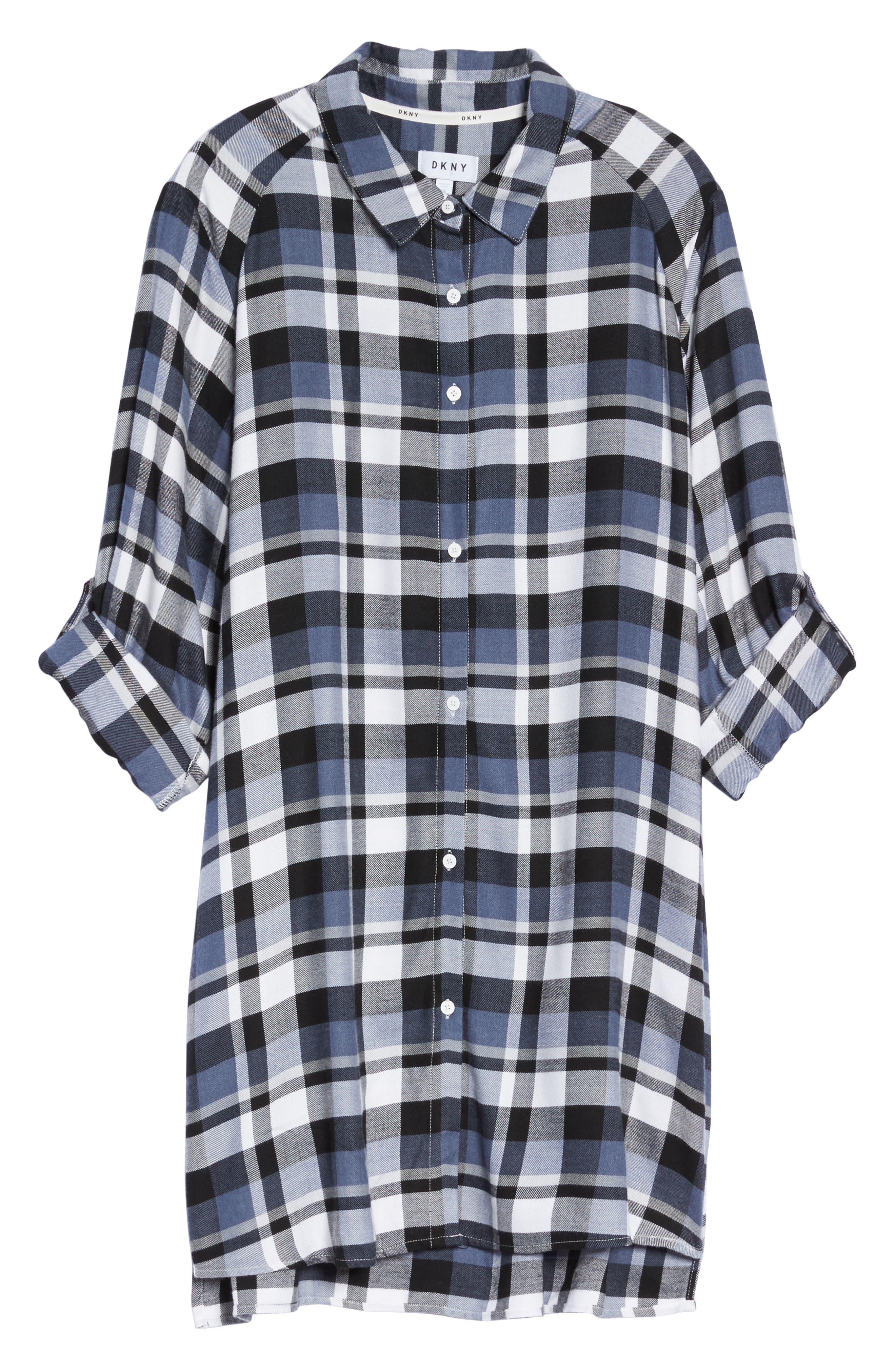 Alternate Image 4  - DKNY Plaid Sleep Shirt (Plus Size)