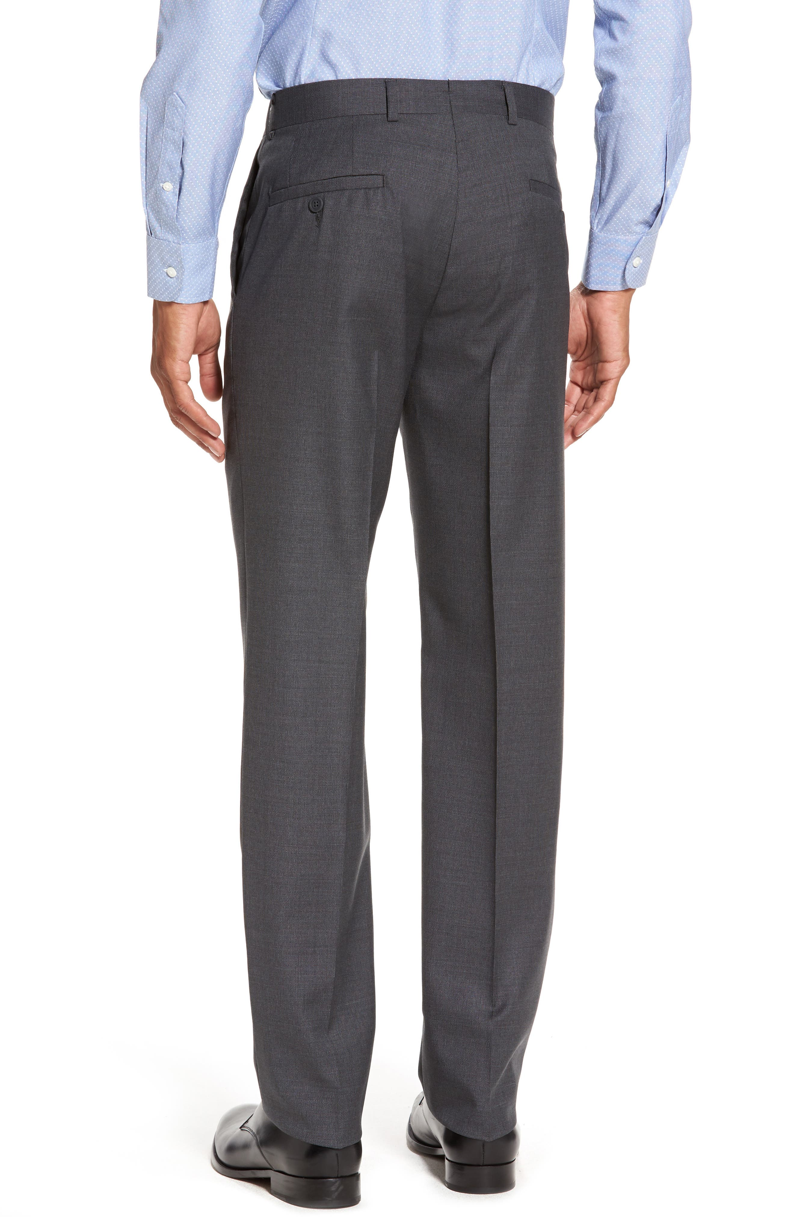 Flat Front Solid Wool Suit Trousers,                             Alternate thumbnail 2, color,                             Charcoal