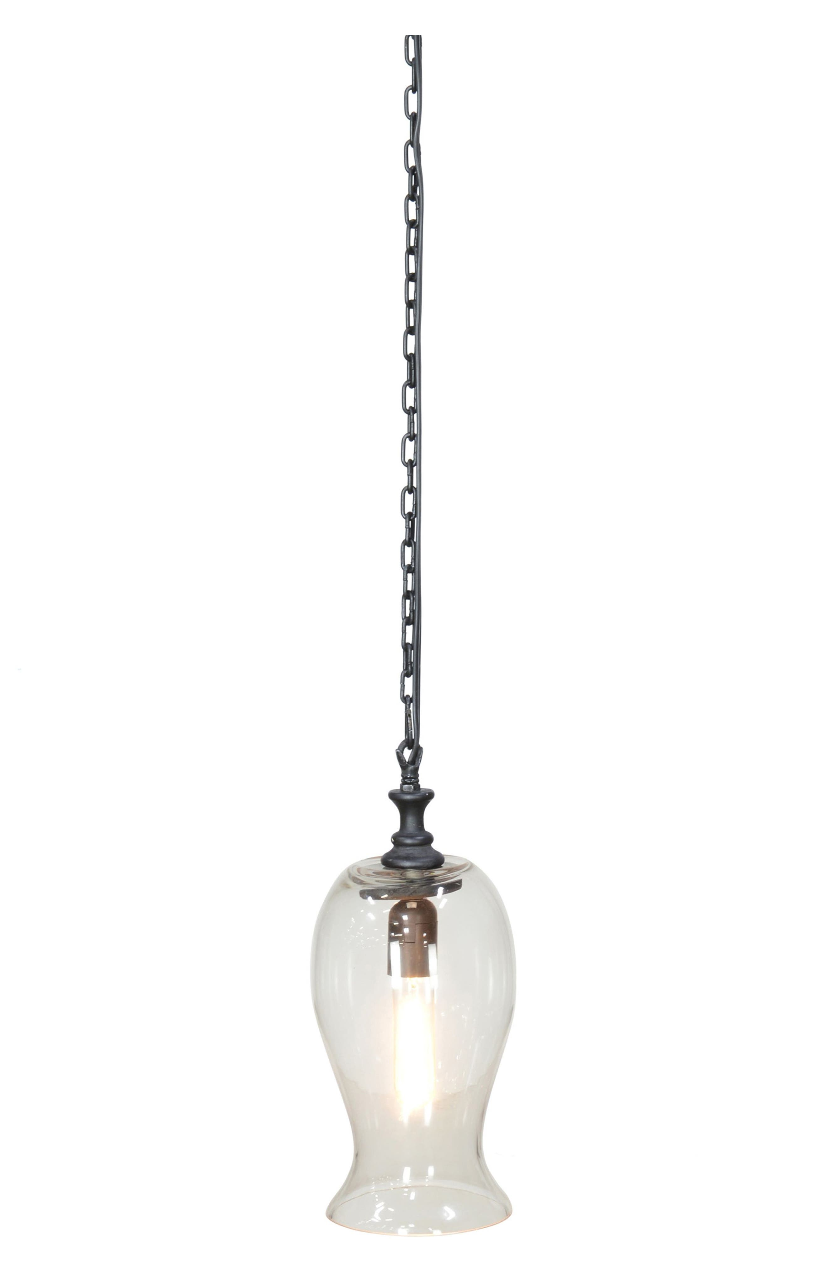 Santa Ana Glass Pendant Lamp,                         Main,                         color, Antique Black