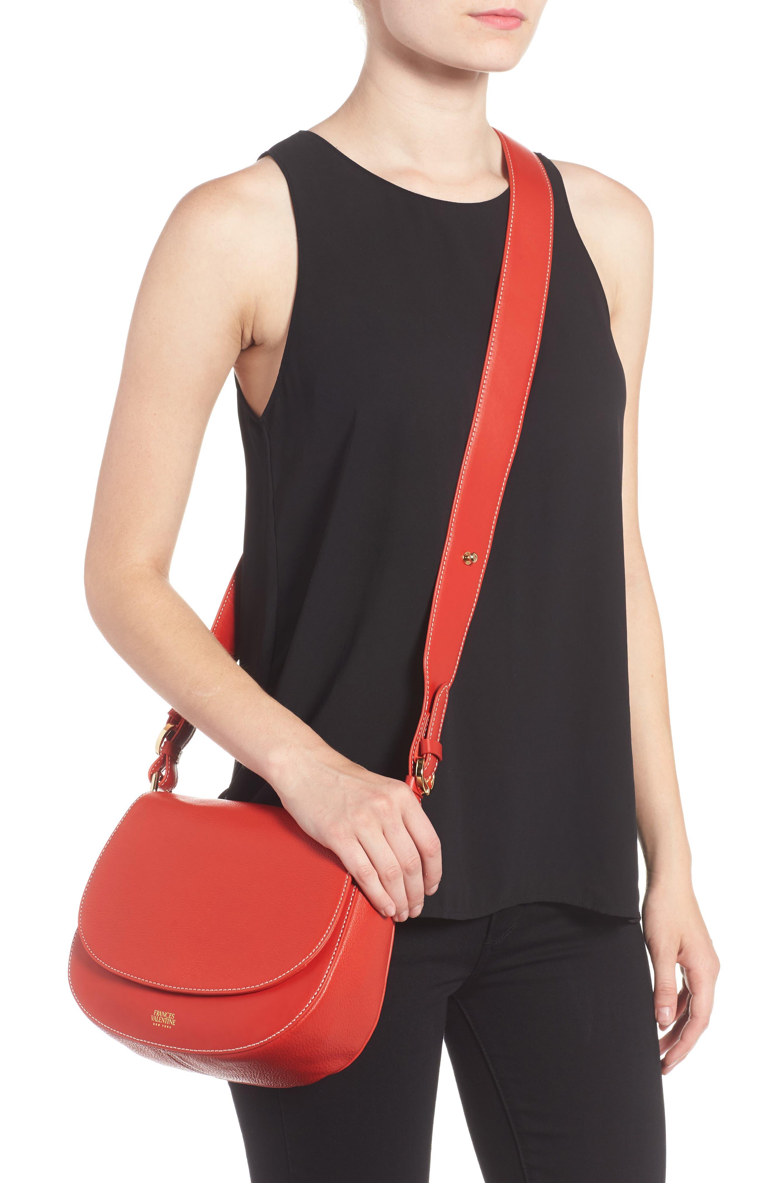 Small Ellen Leather Crossbody Bag,                             Alternate thumbnail 2, color,                             Coral
