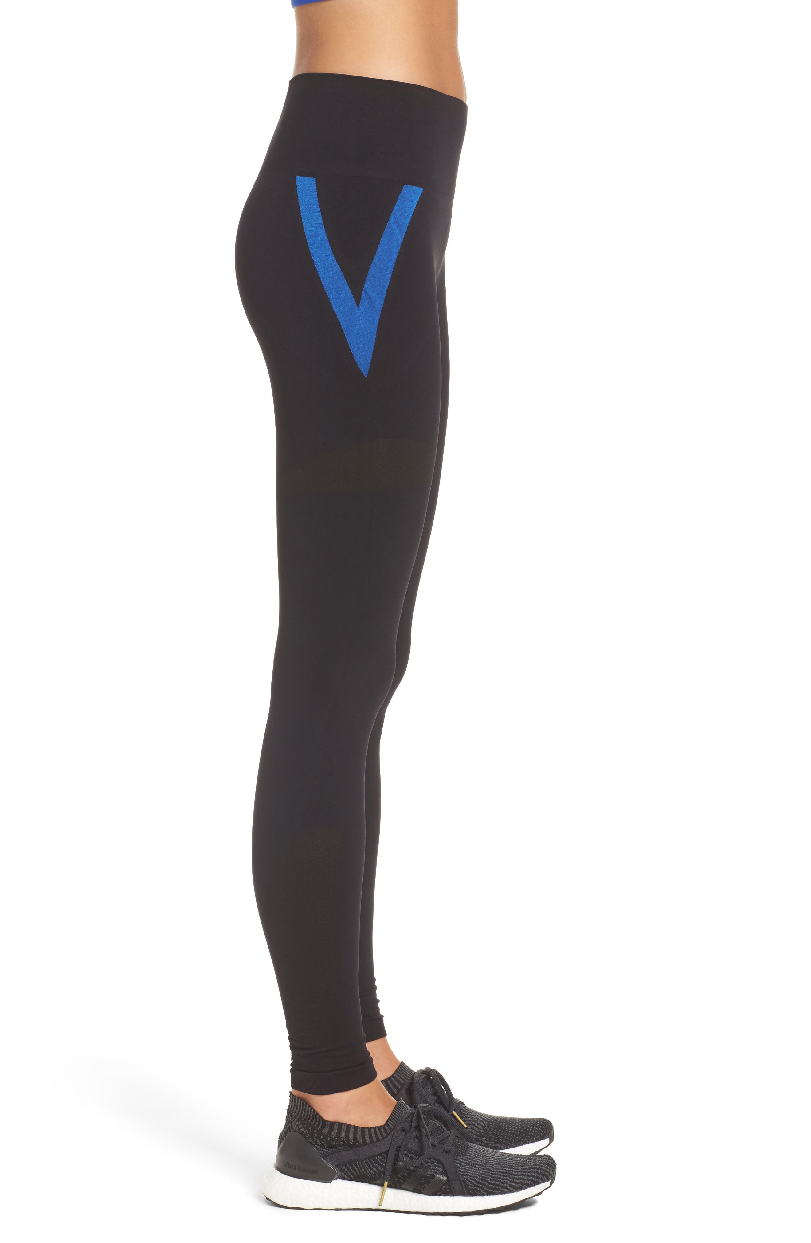 BoomBoom Athletica Leggings,                             Alternate thumbnail 3, color,                             Black With Blue