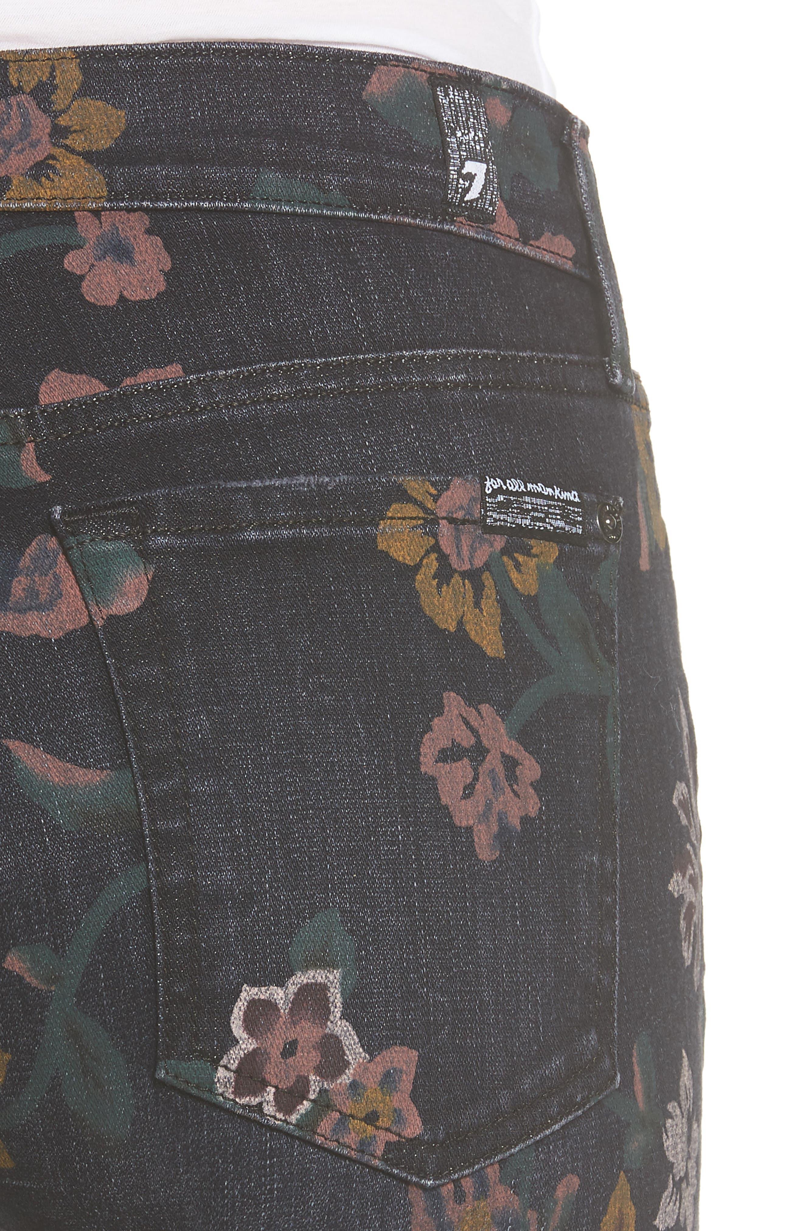 Roxanne Floral Print Ankle Slim Jeans,                             Alternate thumbnail 4, color,                             Print On Noir