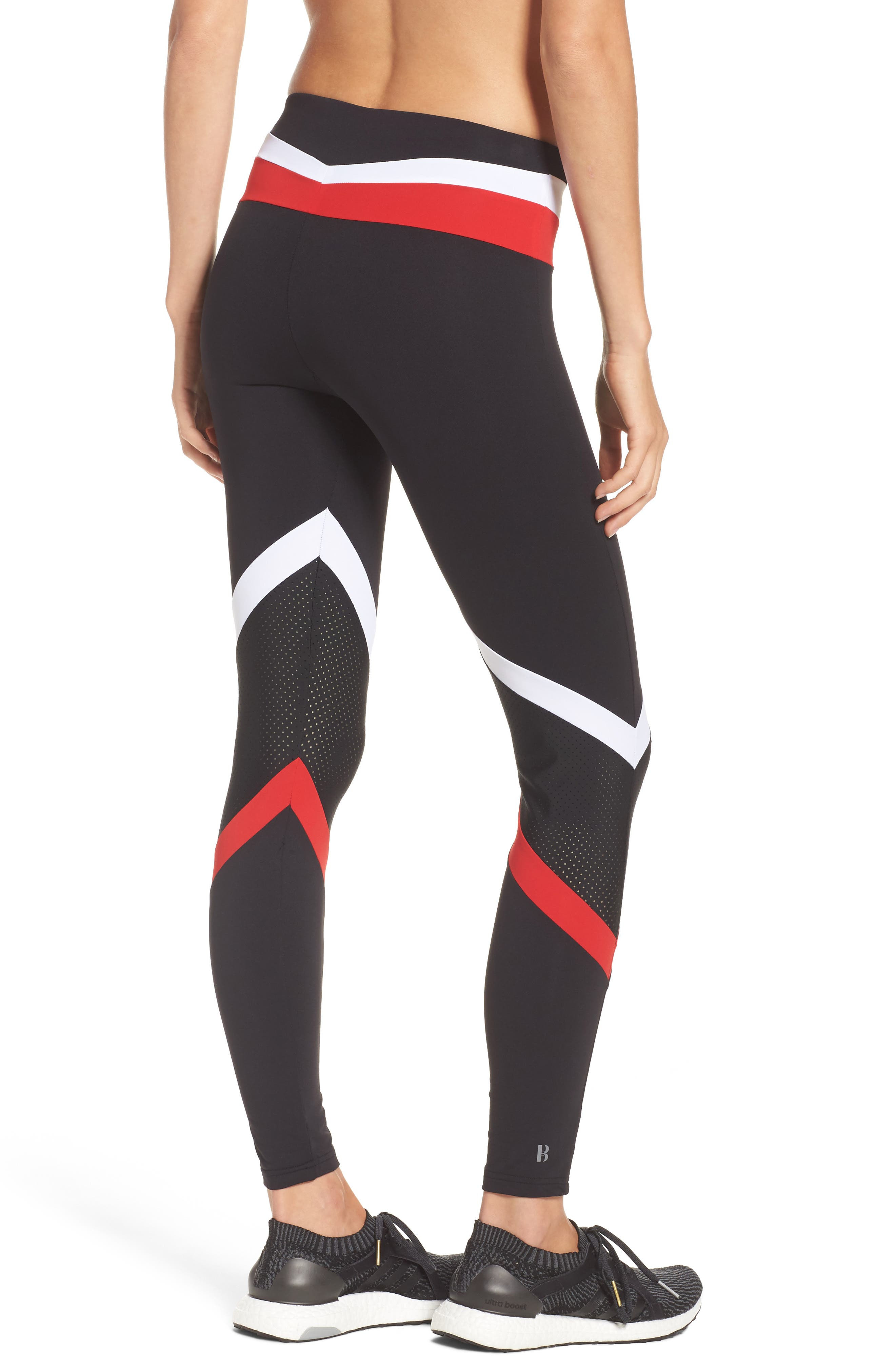 BoomBoom Athletica Leggings,                             Alternate thumbnail 2, color,                             Black/ White/ Red