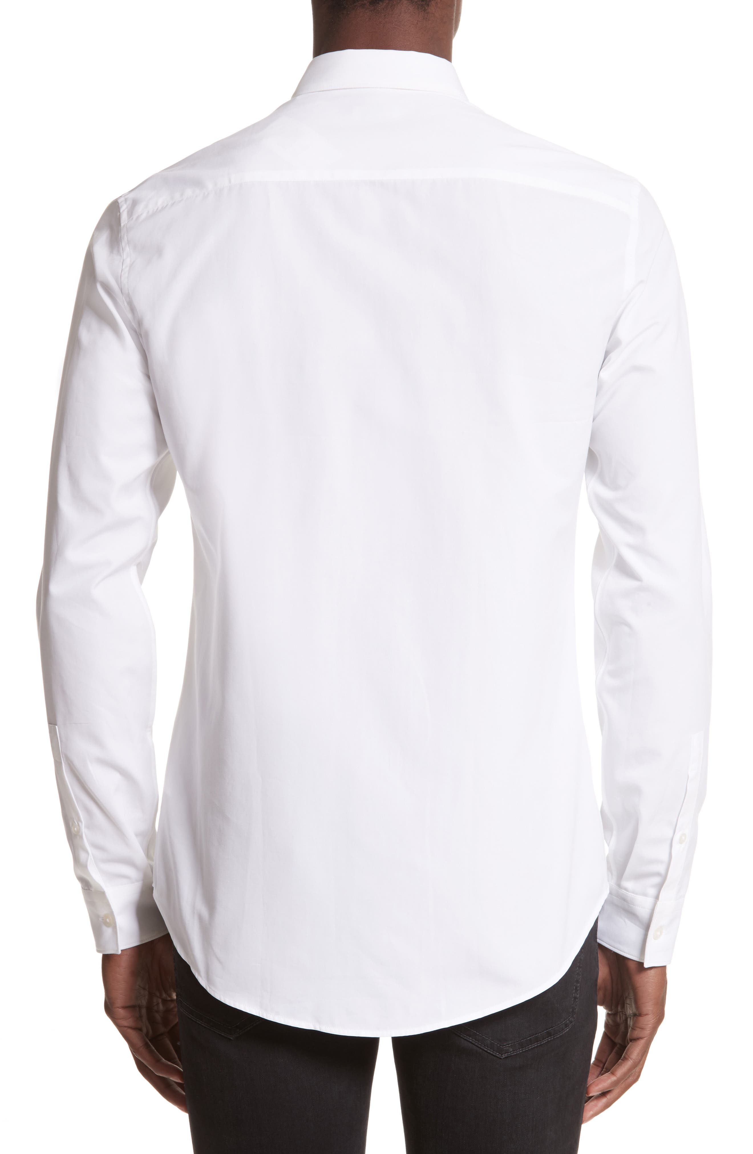 Slim Fit Embroidered Shirt,                             Alternate thumbnail 3, color,                             White