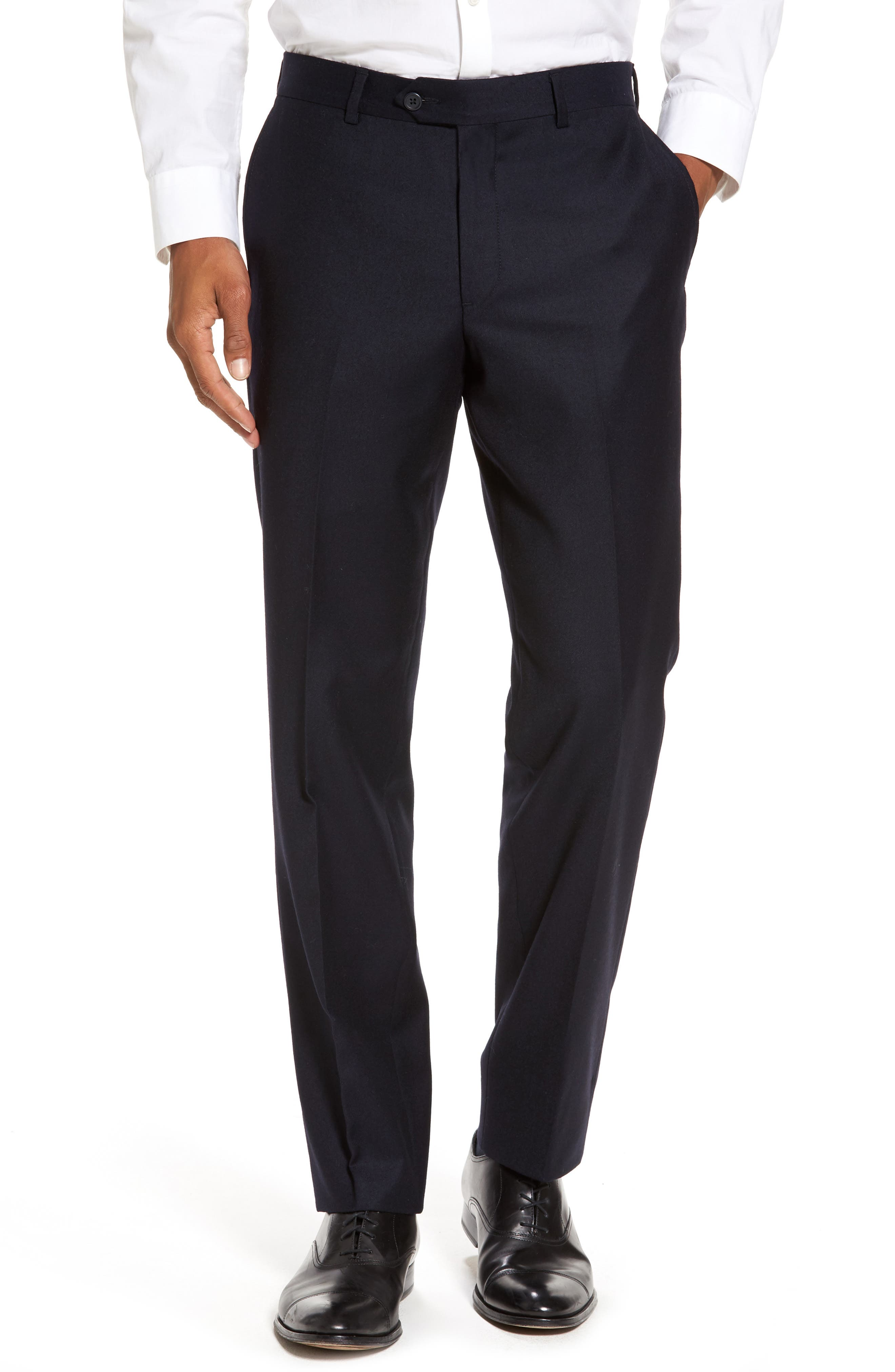 Flat Front Solid Wool Trousers,                             Main thumbnail 1, color,                             Navy