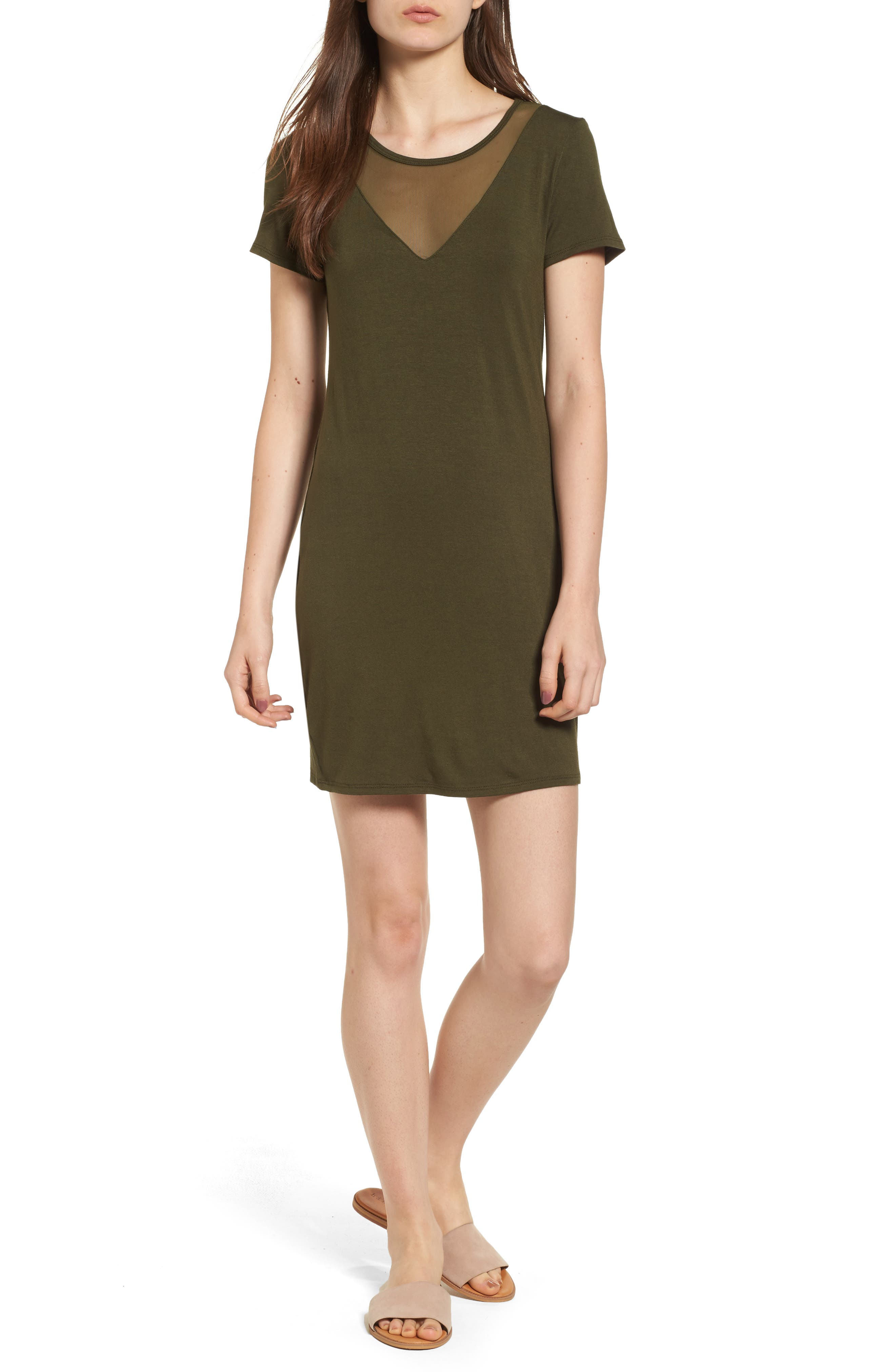 Mesh Inset Dress,                         Main,                         color, Olive