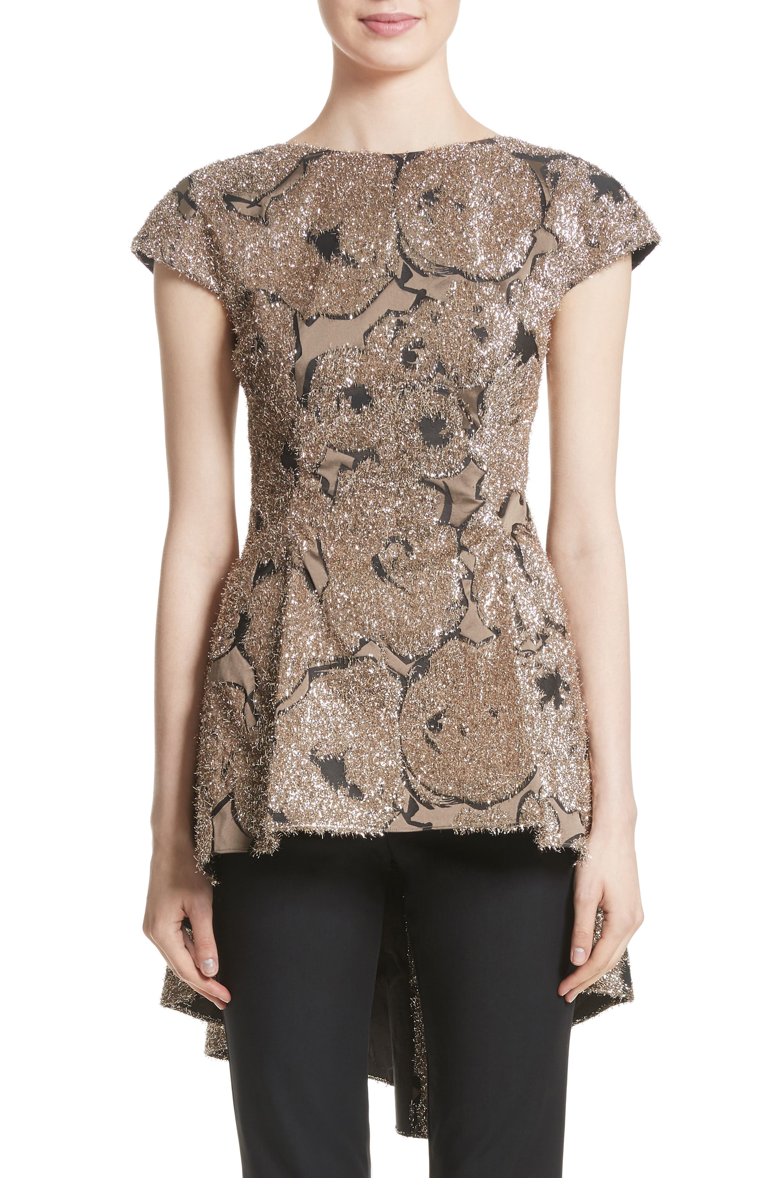 Lela Rose Metallic Jacquard Peplum Top