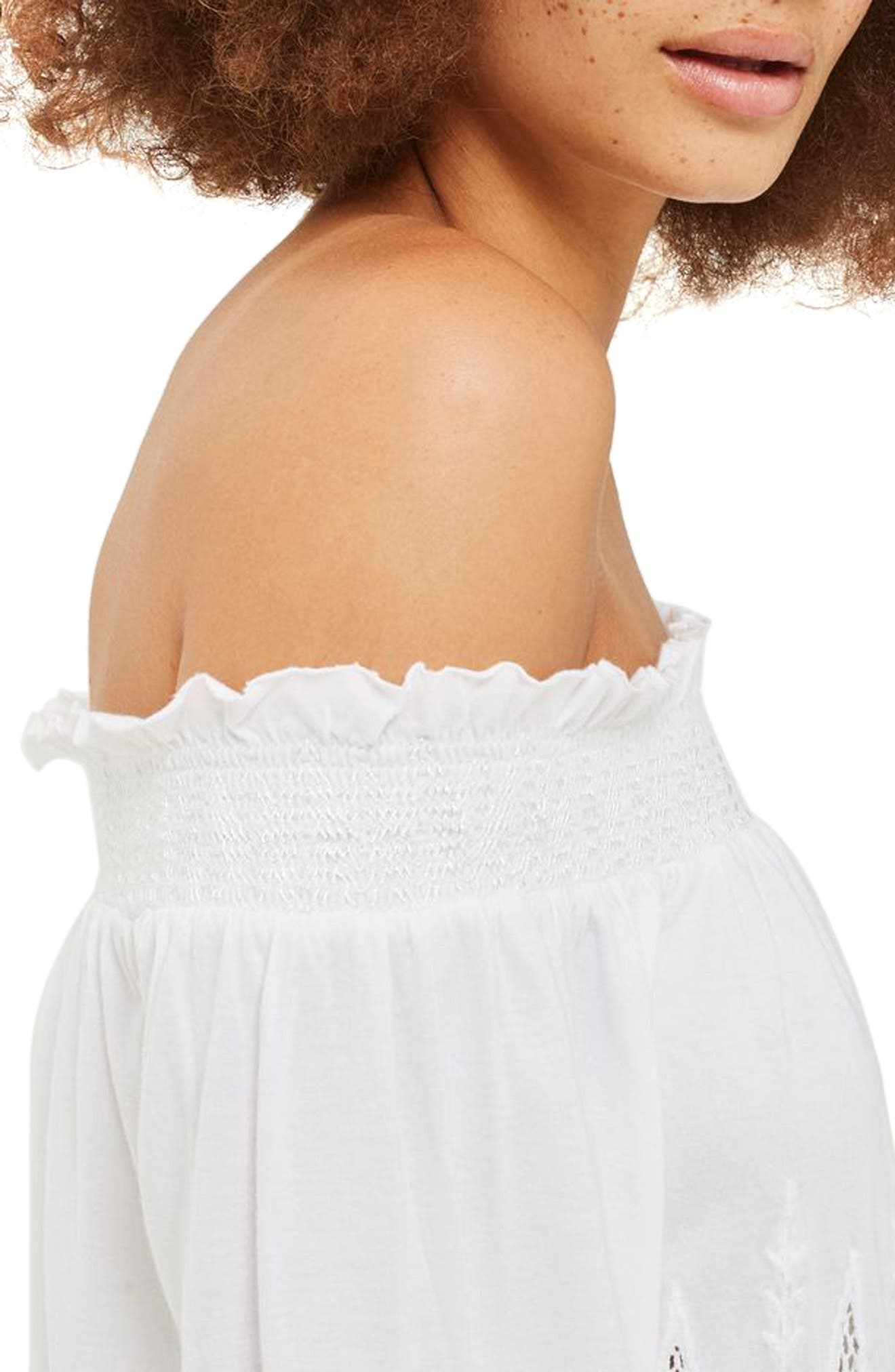 Cutwork Off the Shoulder Top,                             Alternate thumbnail 3, color,                             White