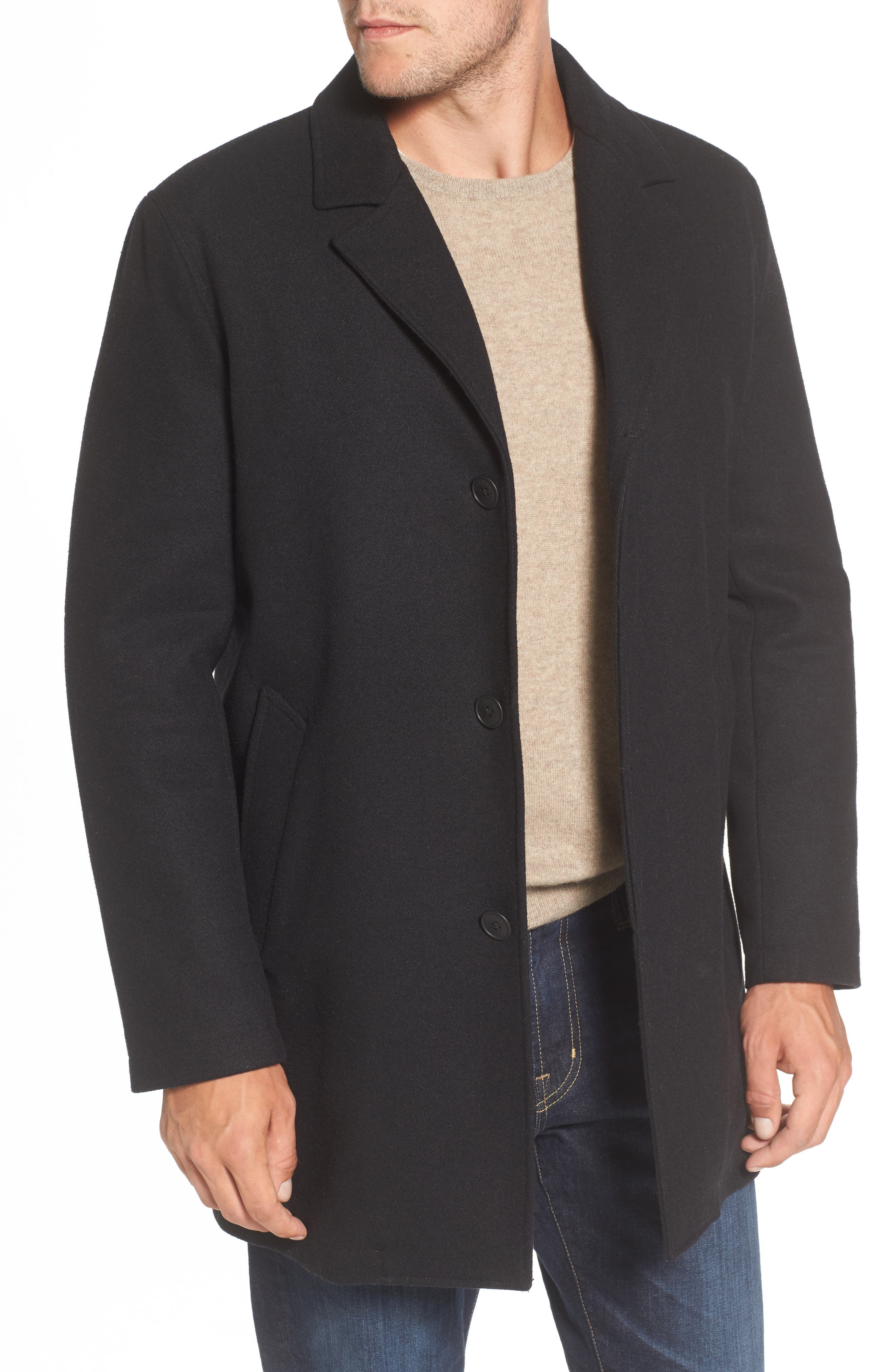 Water Repellent Jacket with Inset Bib & Faux Fur Lining,                             Alternate thumbnail 4, color,                             Black