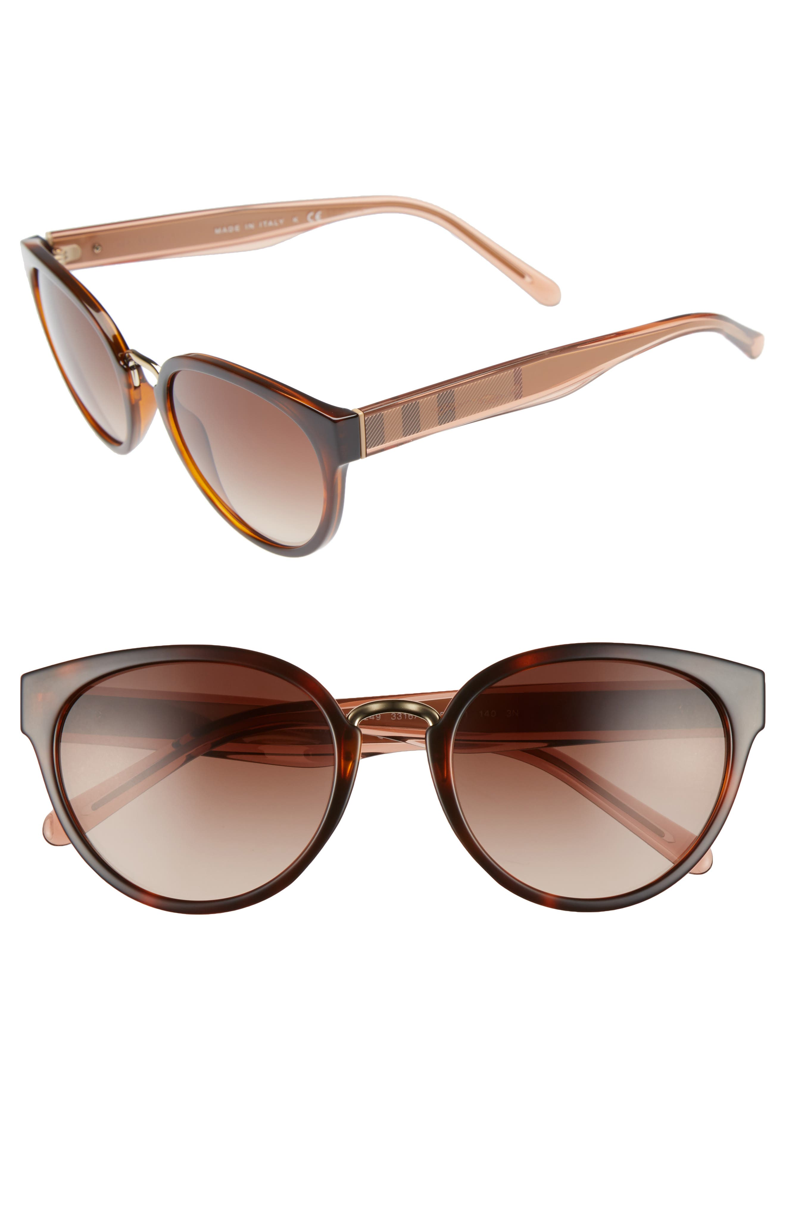 53mm Gradient Cat Eye Sunglasses,                             Main thumbnail 1, color,                             Brown Havana