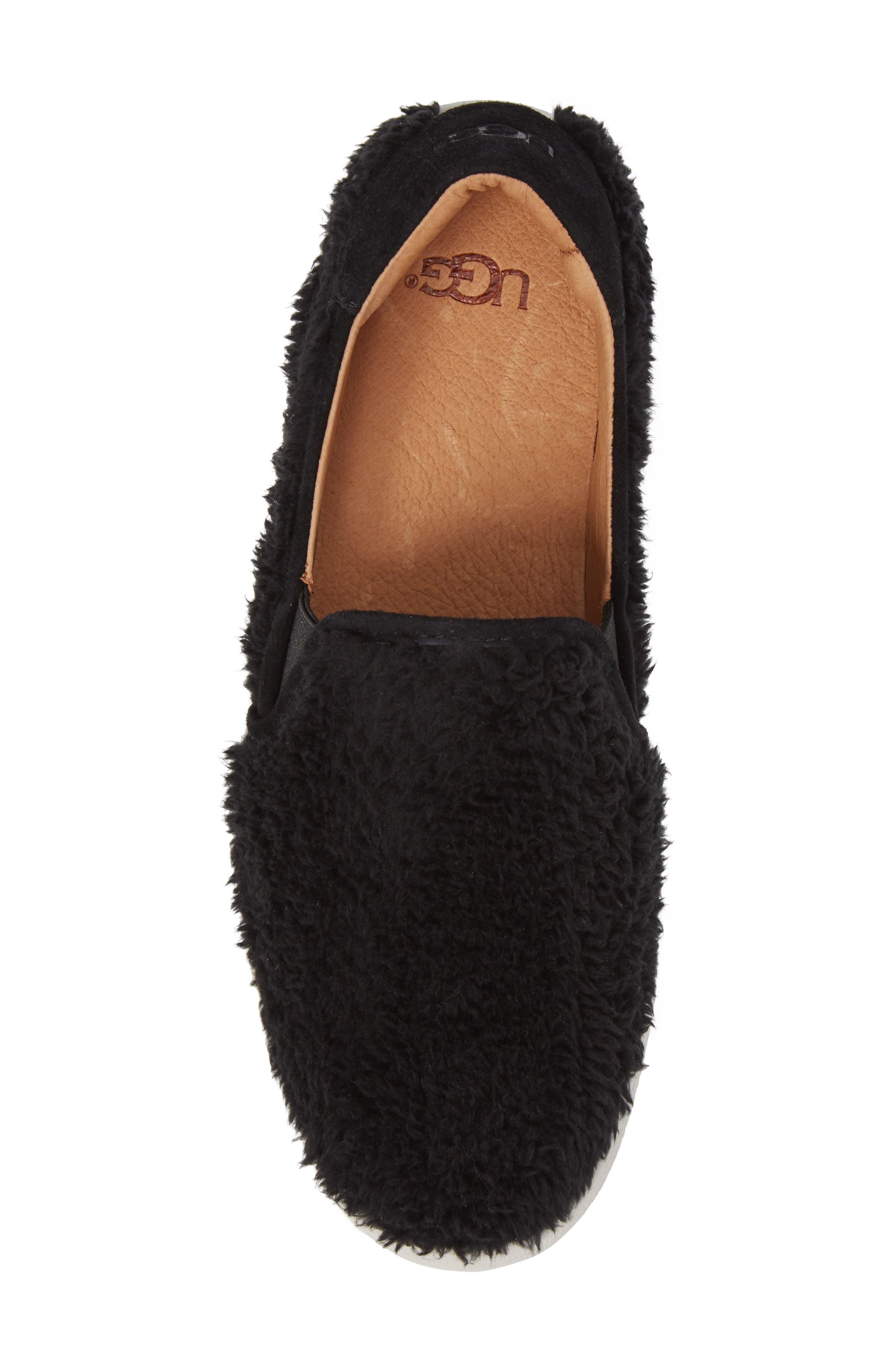 Ricci Plush Slip-On Sneaker,                             Alternate thumbnail 5, color,                             Black Fabric