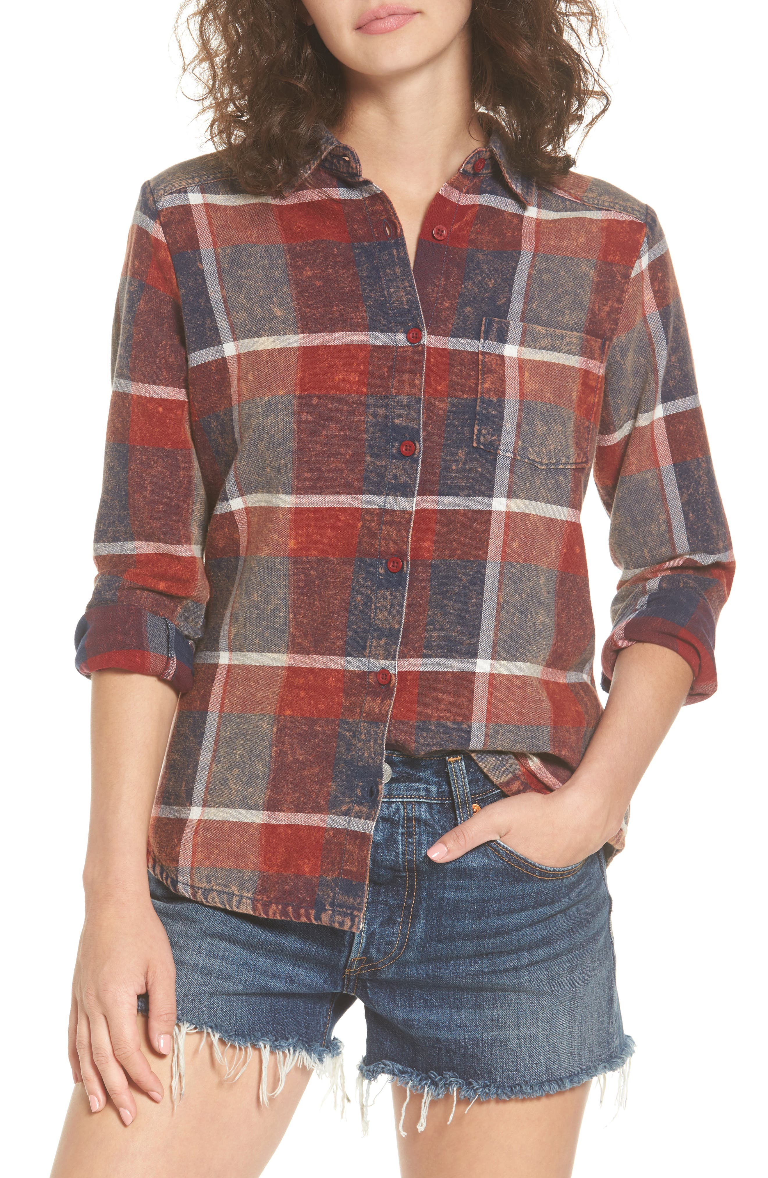 Alternate Image 1 Selected - RVCA Pops Cotton Plaid Shirt