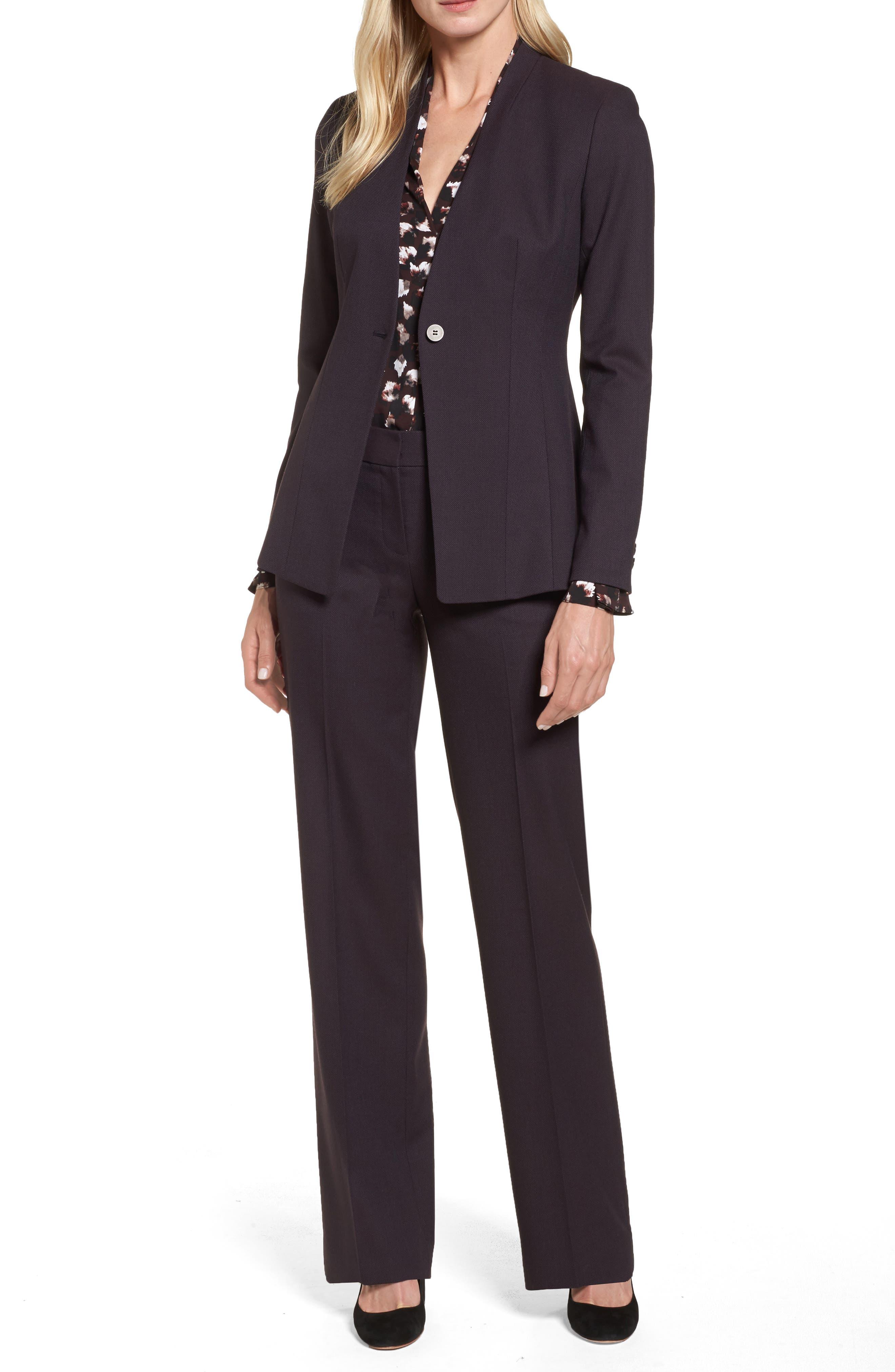 One-Button Suit Jacket,                             Alternate thumbnail 2, color,                             Burgundy
