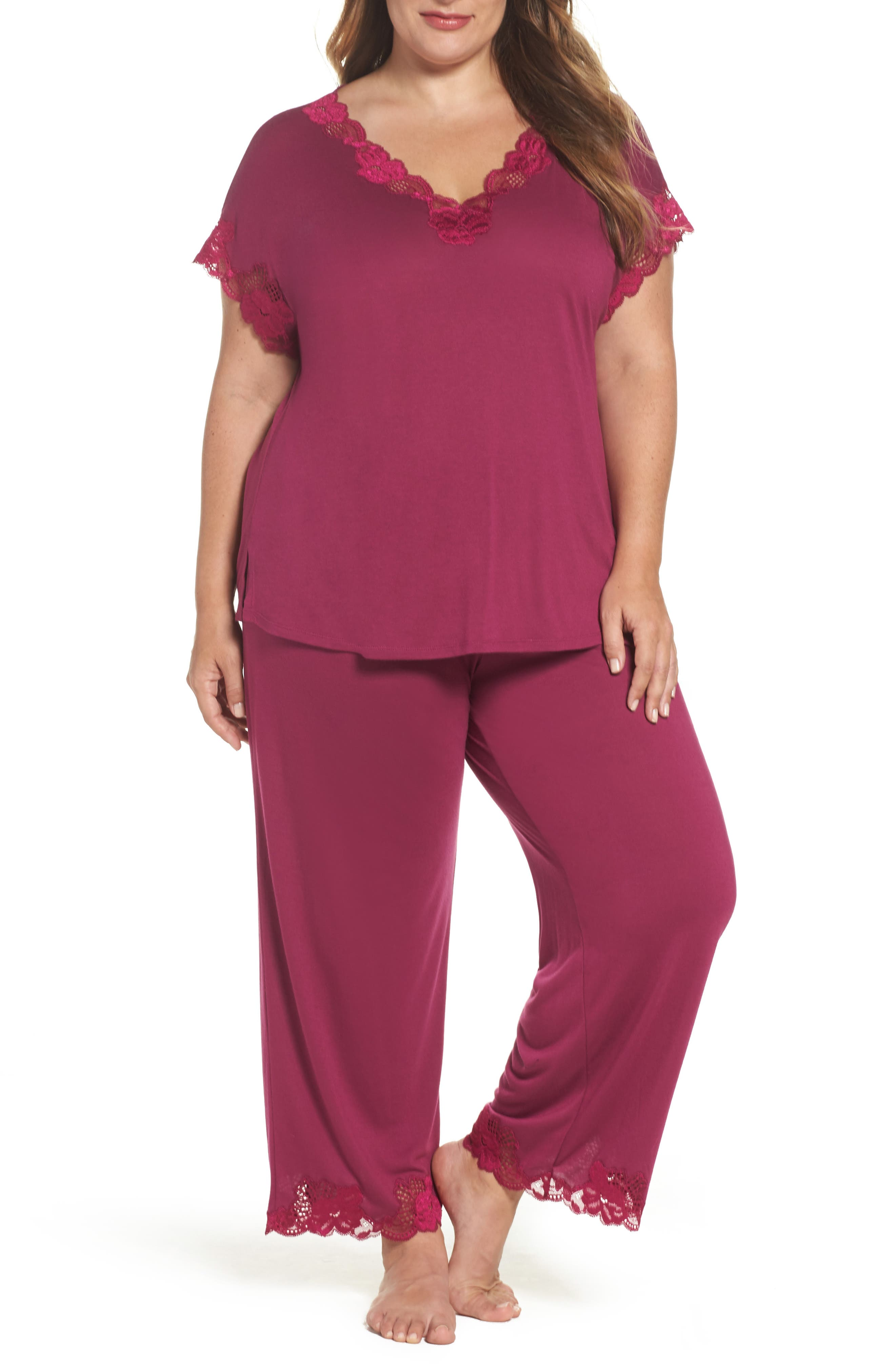 Main Image - Natori 'Zen Floral' Pajamas (Plus Size)