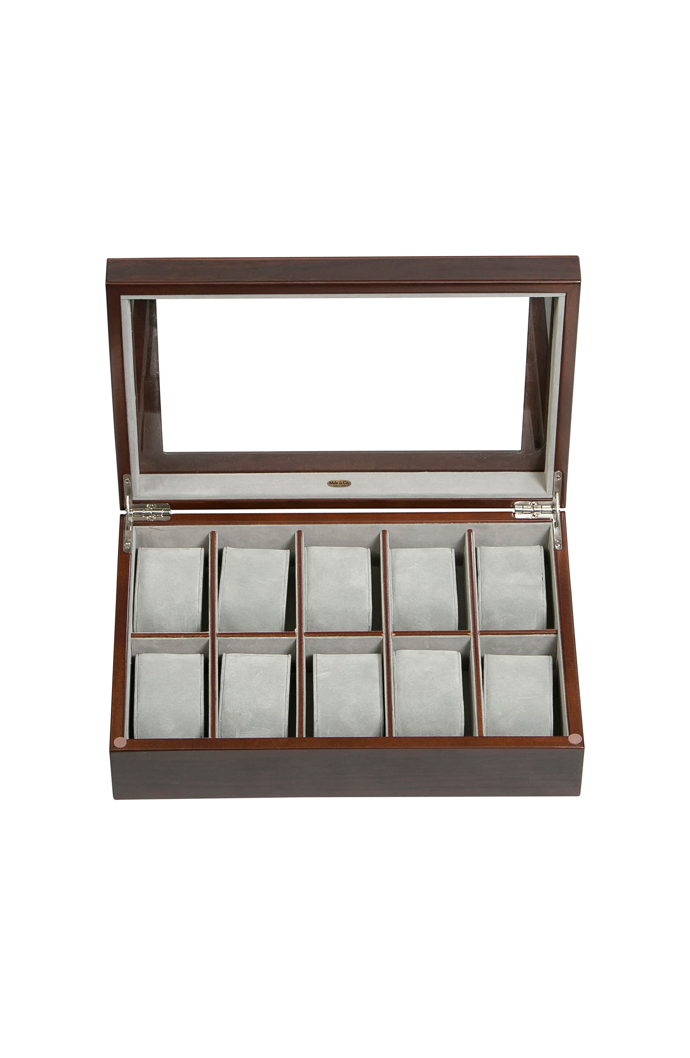 Hudson Glass Top Watch Box,                             Alternate thumbnail 3, color,                             Brown