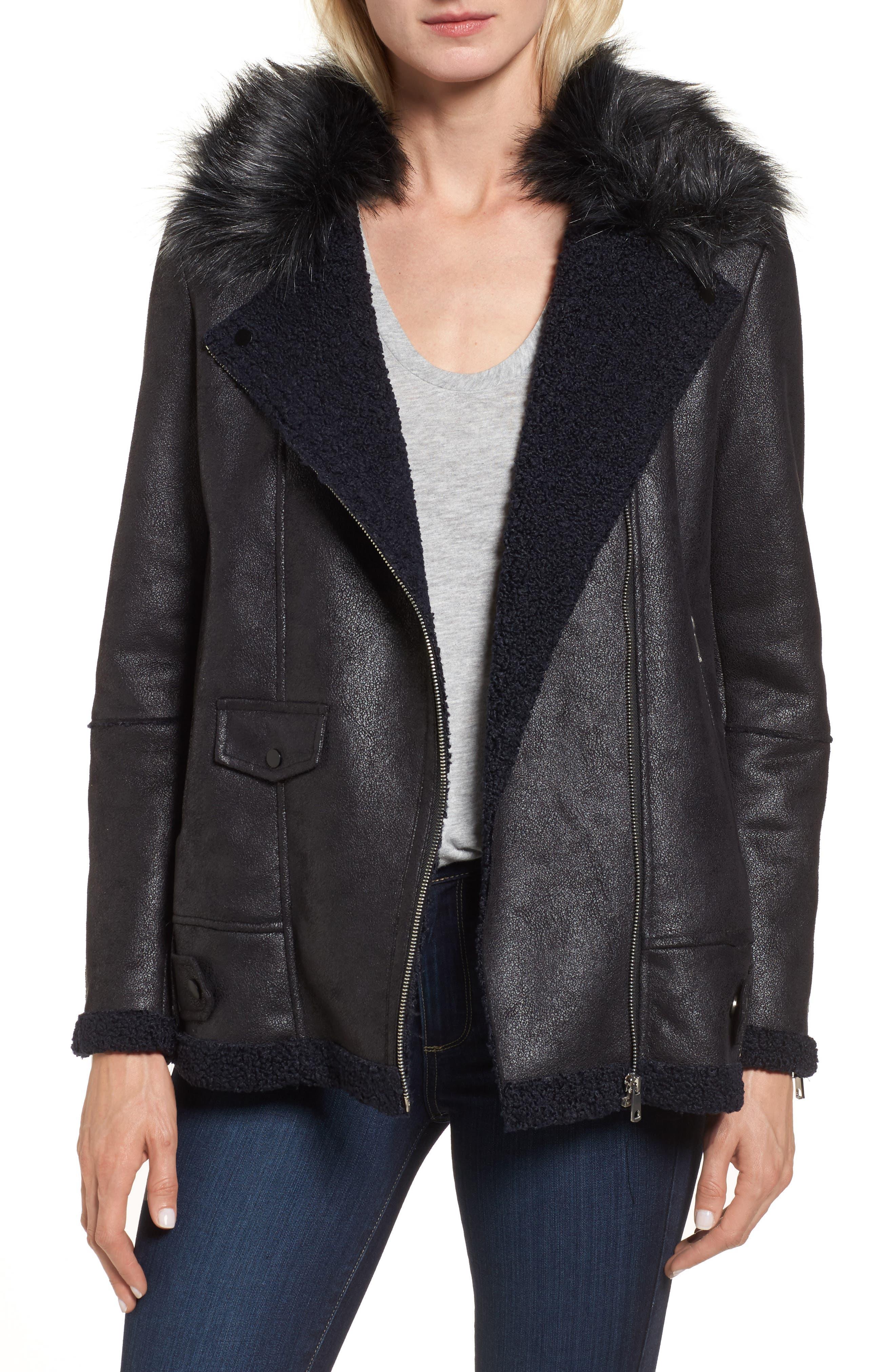 Faux Suede Moto Jacket with Faux Fur Collar,                         Main,                         color, Black/ Navy