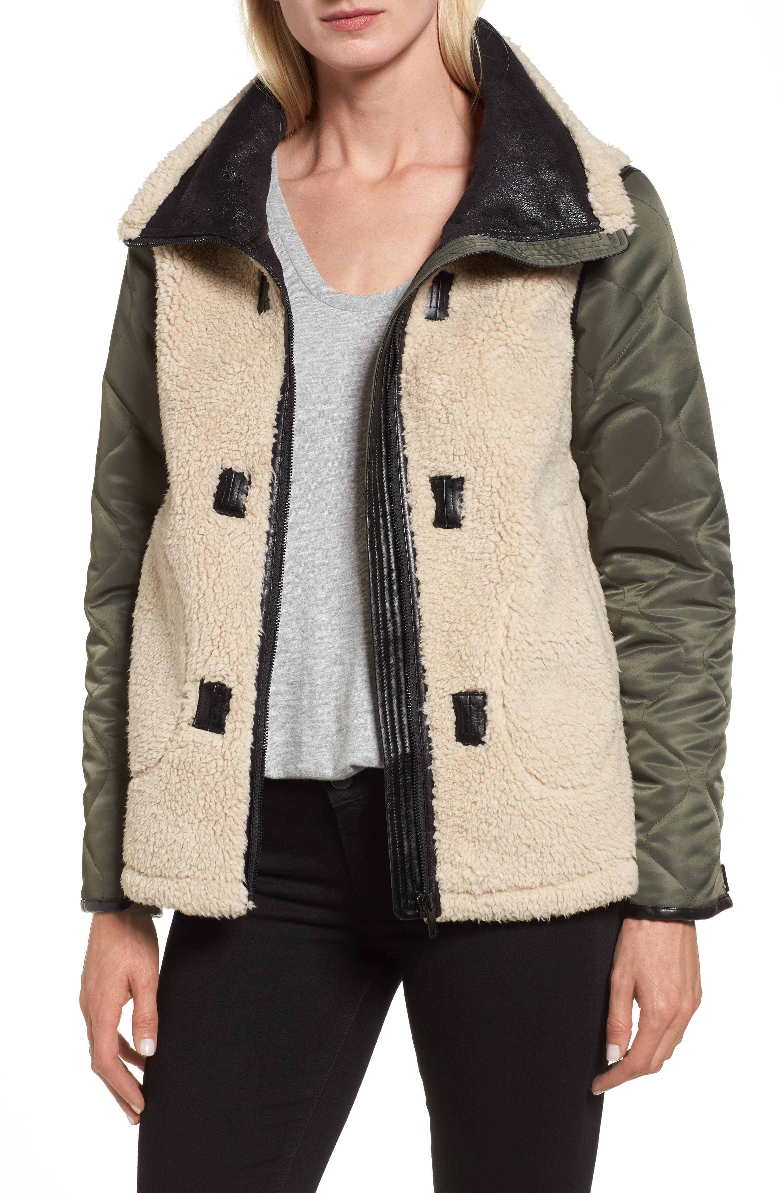 Faux Shearling Bomber Jacket,                         Main,                         color, Black/ Ivory