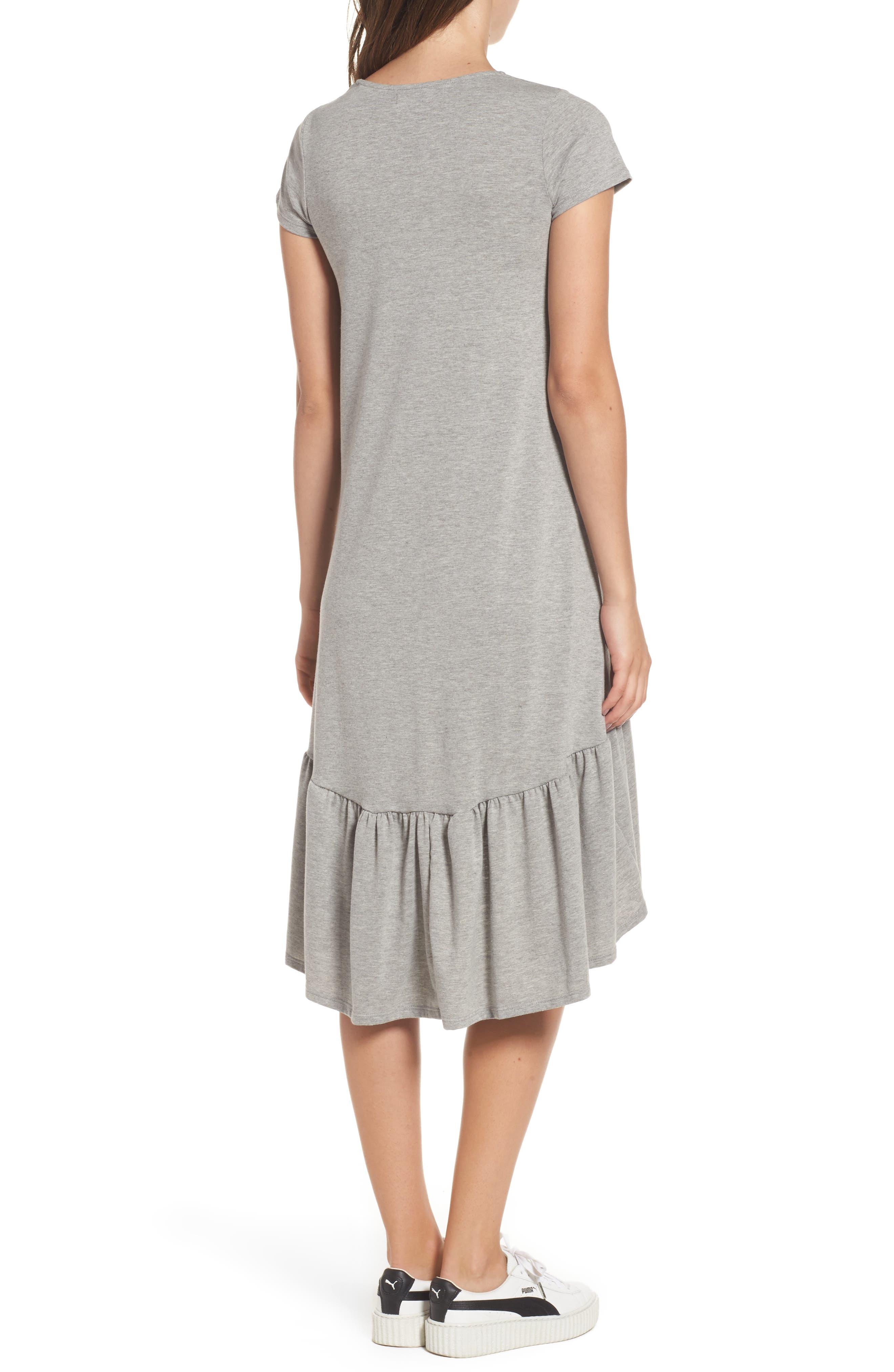 Alternate Image 2  - Cotton Emporium Ruffle Hem Knit T-Shirt Dress
