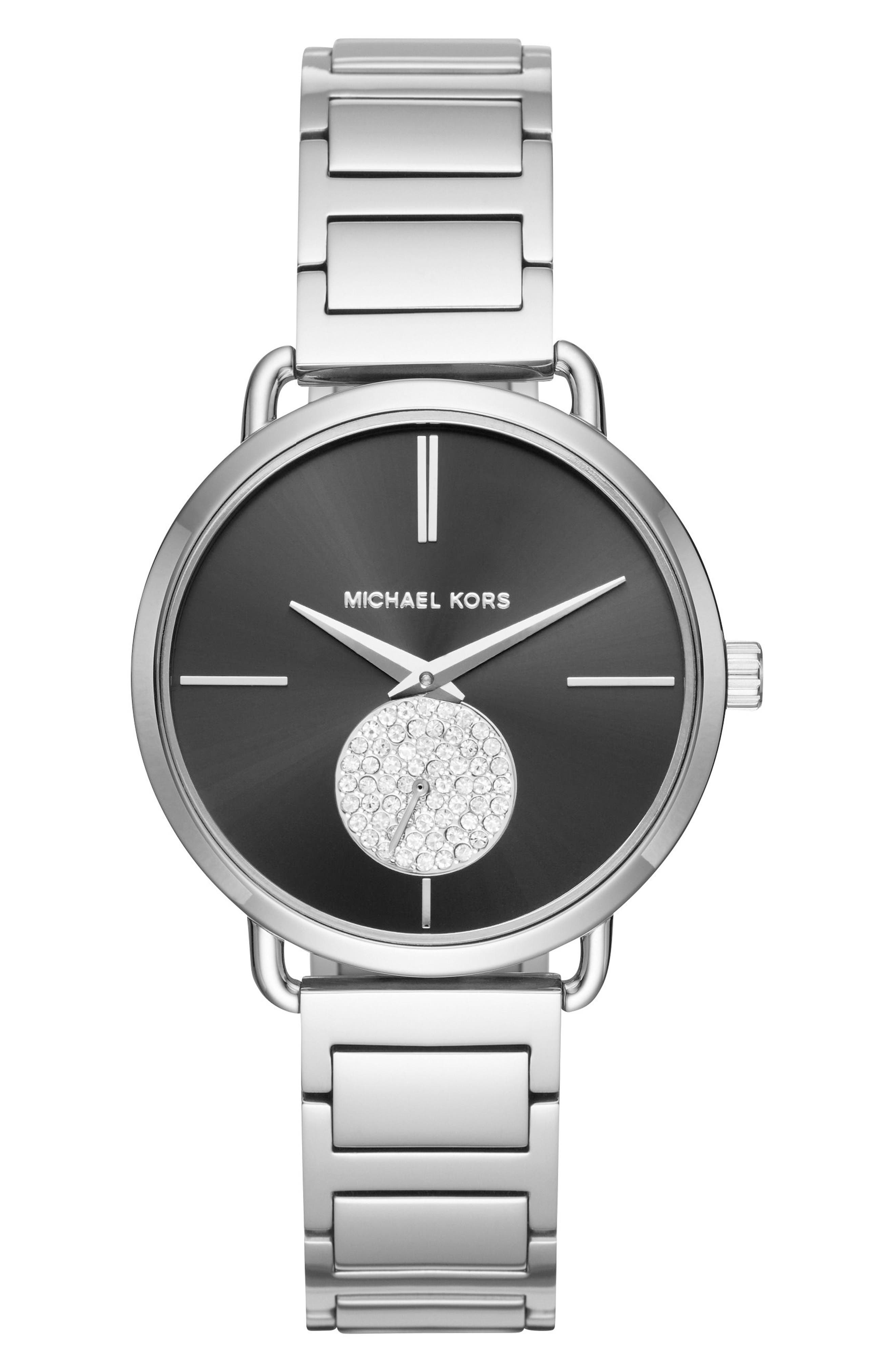 Portia Round Bracelet Watch, 36.5mm,                         Main,                         color, Silver/ Black