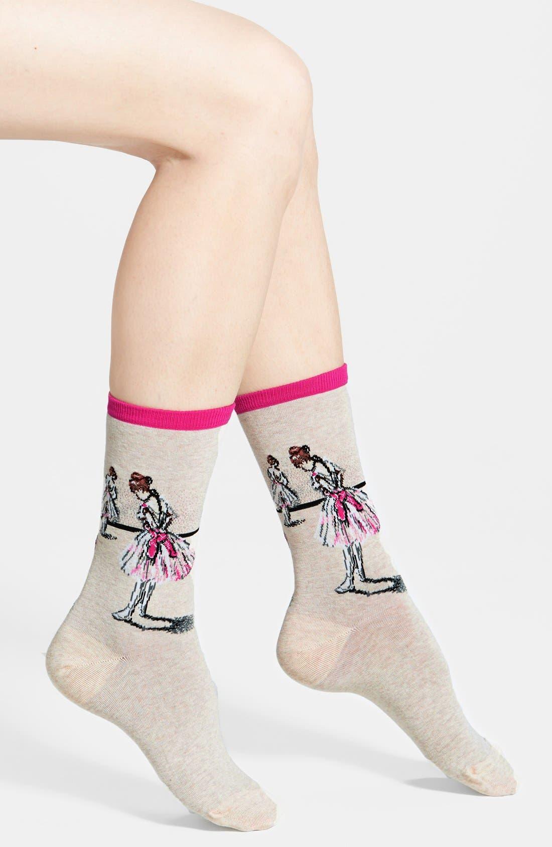 'Dancer Study' Socks,                             Main thumbnail 1, color,                             Hot Pink