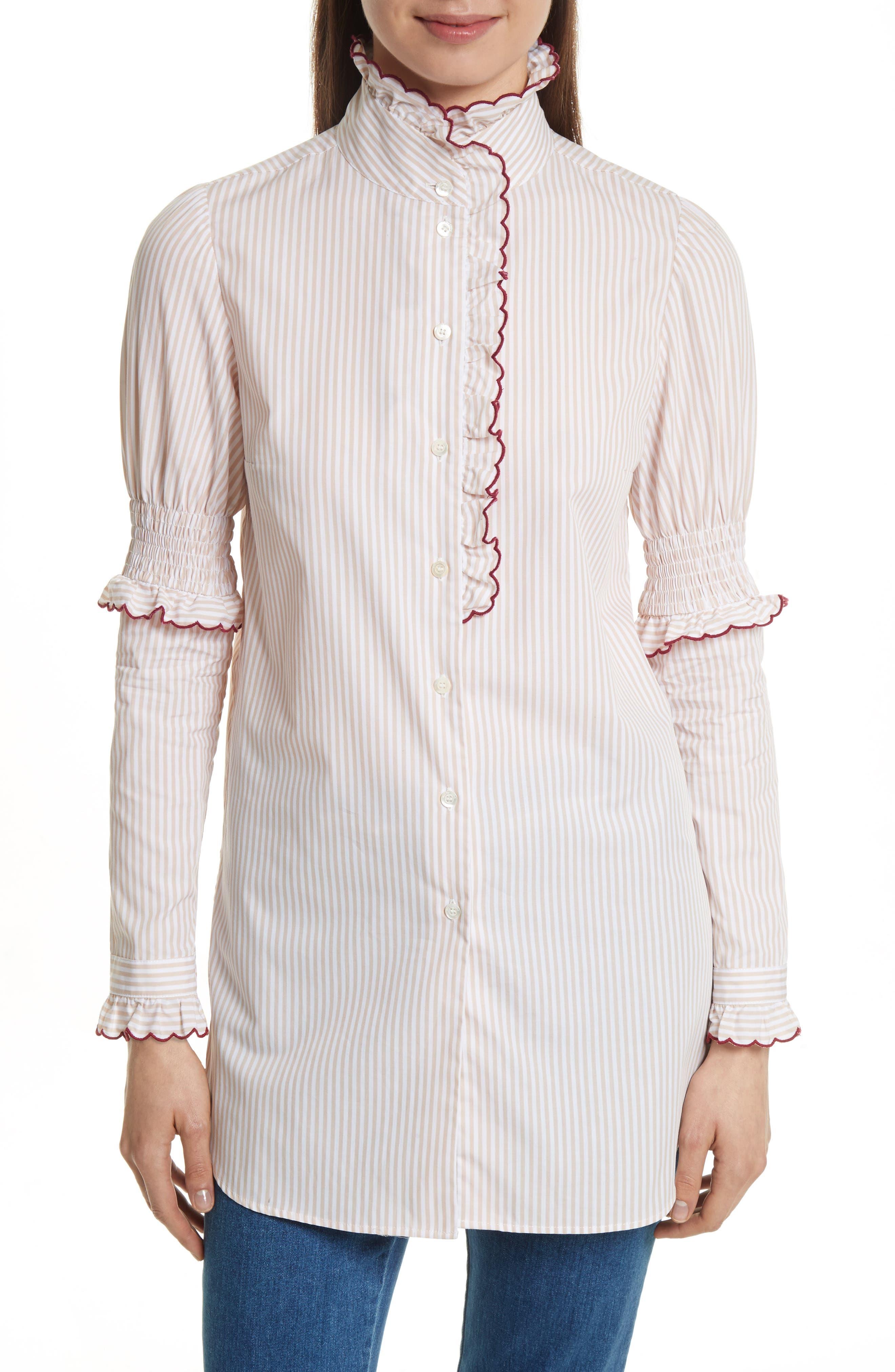 Stripe Cotton Shirt,                             Main thumbnail 1, color,                             Beige-White