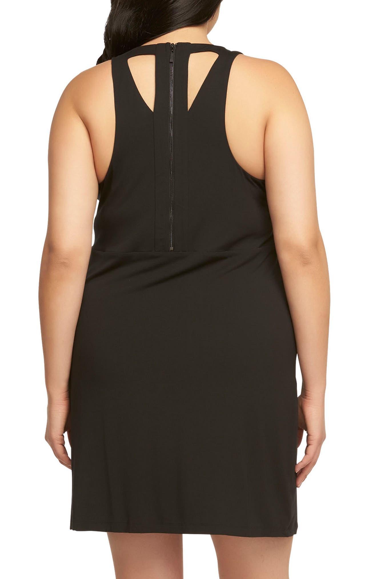 Amari Back Cutout Shift Dress,                             Alternate thumbnail 2, color,                             Black