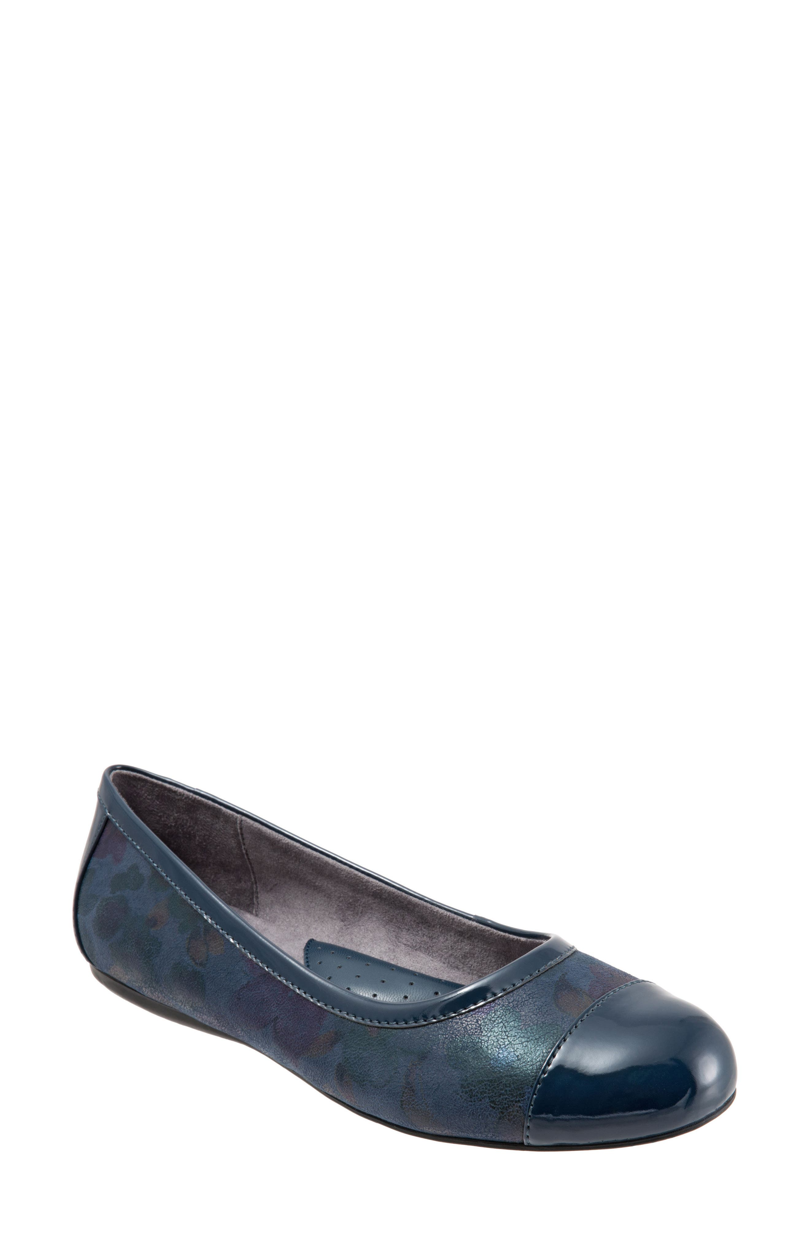 'Napa' Flat,                         Main,                         color, Navy Leather